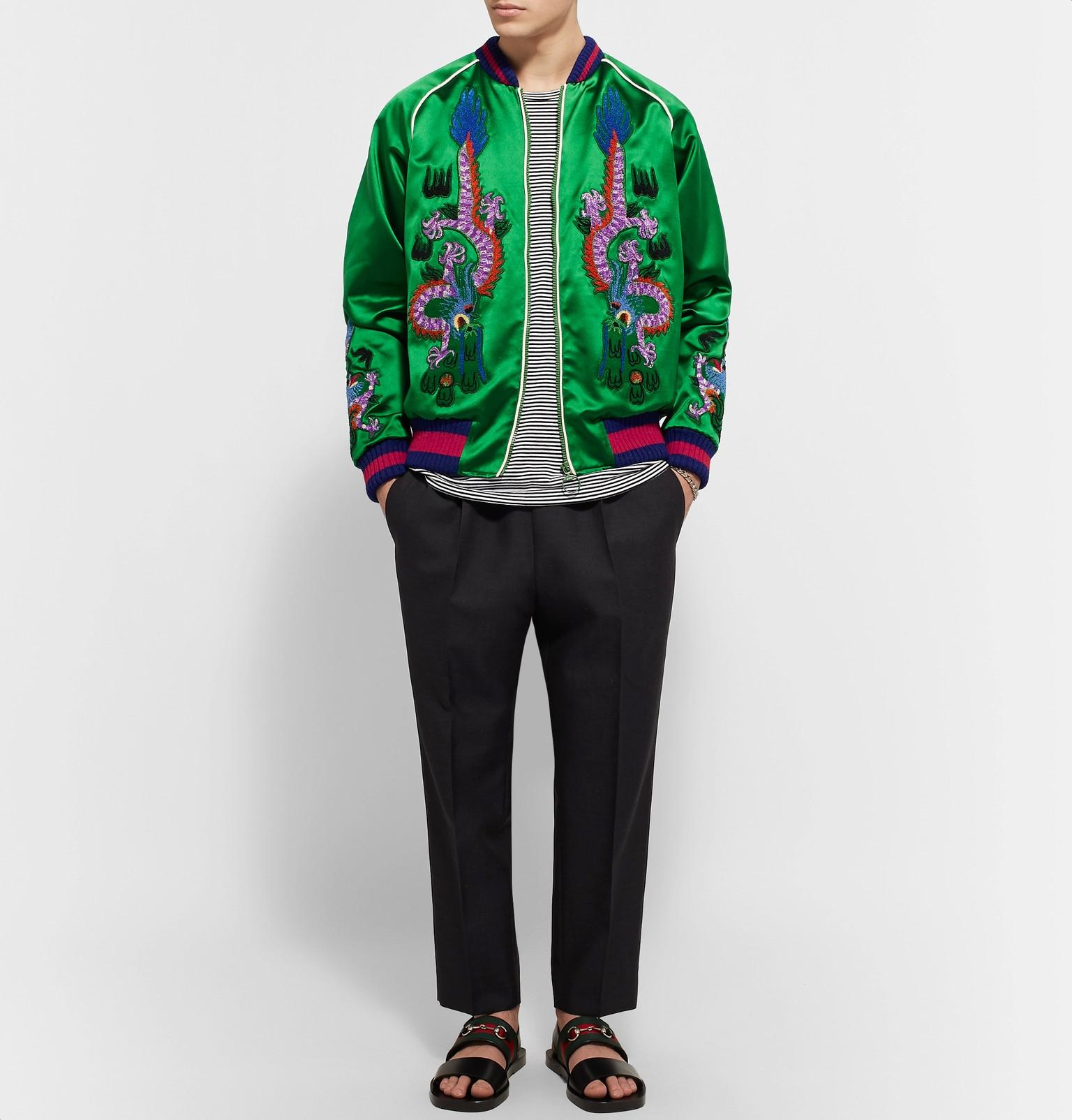 Gucci Appliqu 233 D Silk Satin Duchesse Bomber Jacket In Green
