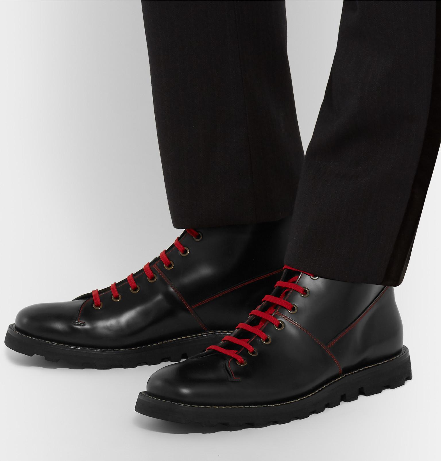 f0e928e607c Prada Contrast-stitched Spazzolato Leather Boots in Black for Men - Lyst