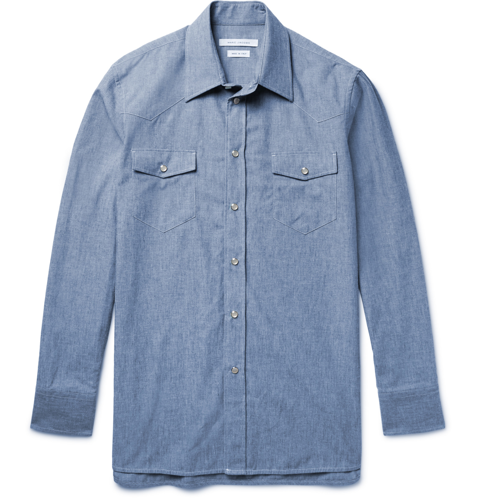 marc jacobs slim fit cotton chambray western shirt in blue