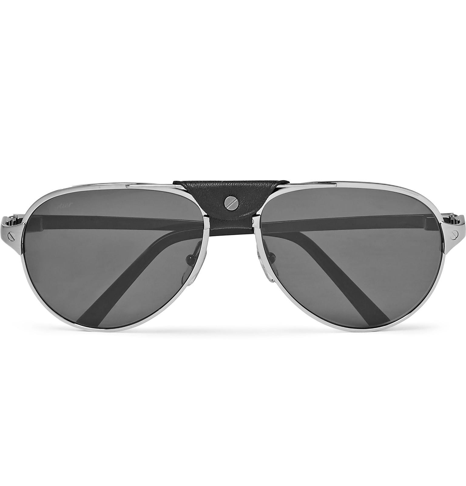 f9c1af85d8 Lyst - Cartier Santos De Cartier Aviator-style Leather-trimmed ...