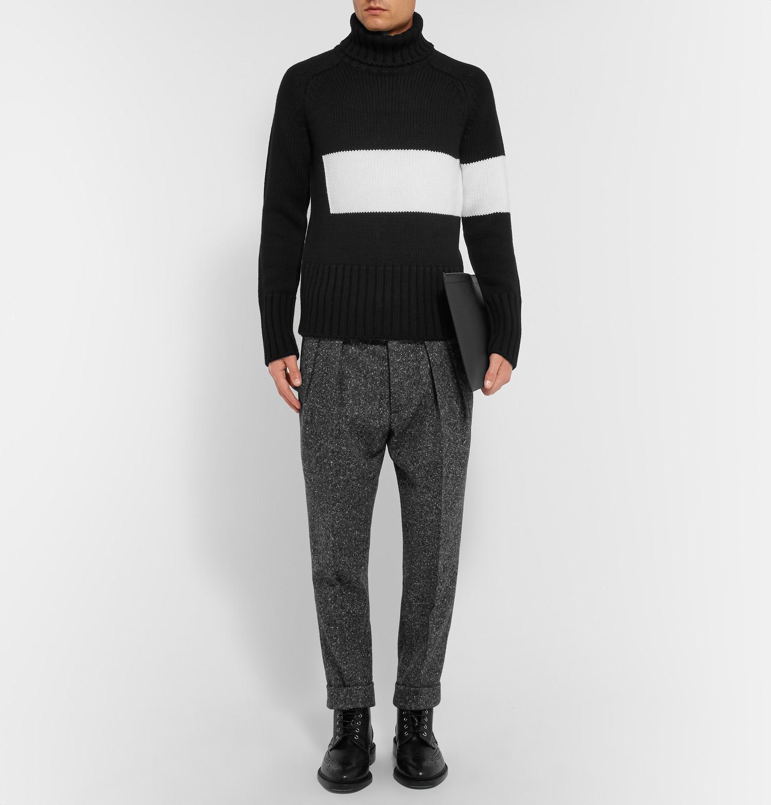 Wooster + Lardini Slim-fit Tapered Pleated Wool-tweed Trousers in Grey for Men