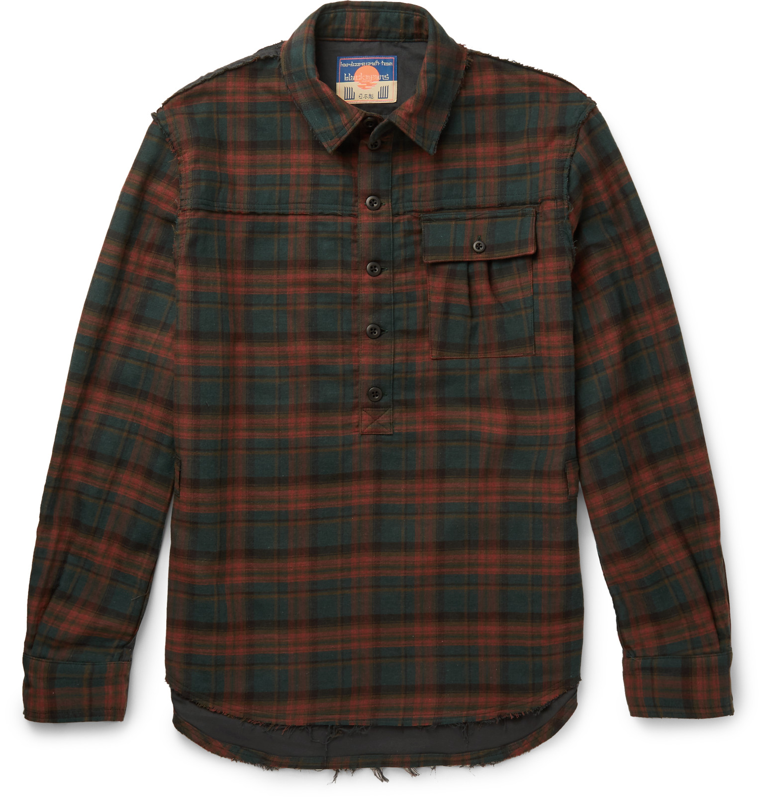 Blackmeans slim fit checked cotton flannel shirt in red for Mens slim fit flannel shirt