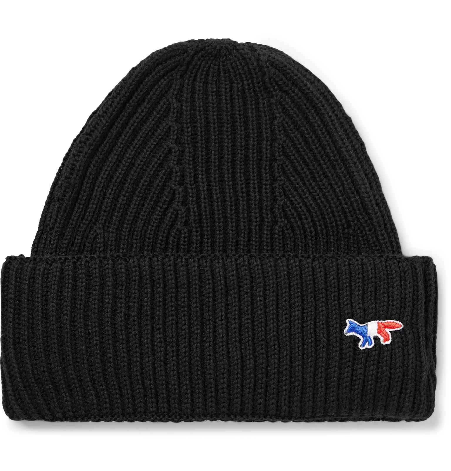 c7fa028b0d1 Maison Kitsuné Logo-appliquéd Ribbed Wool Beanie in Black for Men ...