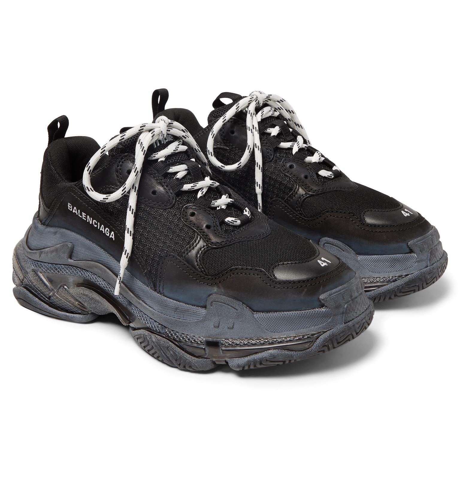 09bfcb466d7fb Balenciaga Black Triple S Clear Sole Mesh, Nubuck And Leather Sneakers for  men. View fullscreen