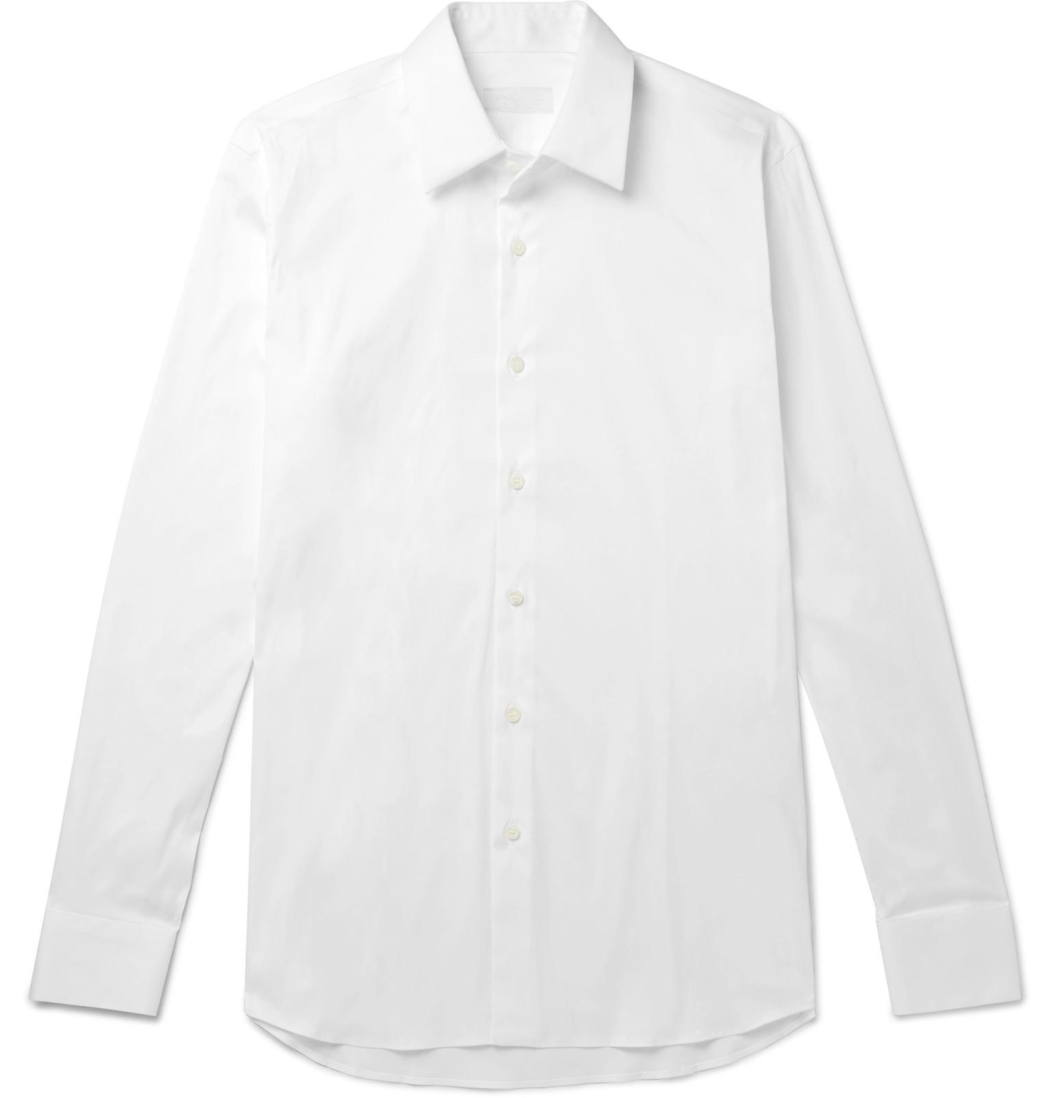 017790f5 Prada Slim-fit Cotton-blend Poplin Shirt in White for Men - Lyst