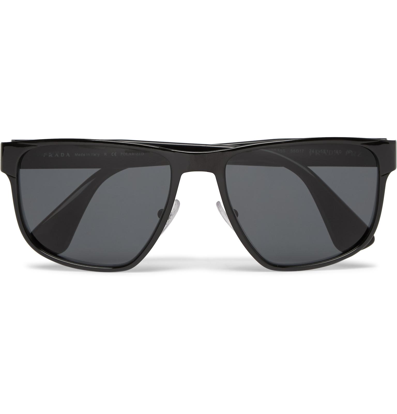 33cbf9c9e2c Lyst - Prada Square-frame Metal And Tortoiseshell Acetate Sunglasses in  Black for Men
