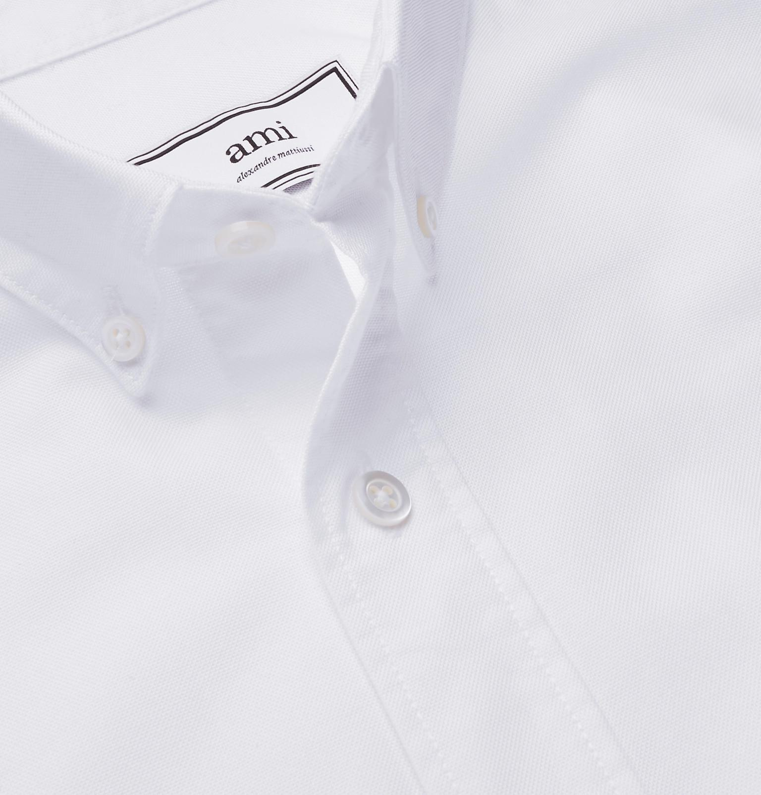 44ac0abec9c Lyst - AMI Appliquéd Button-down Collar Cotton Oxford Shirt in White ...