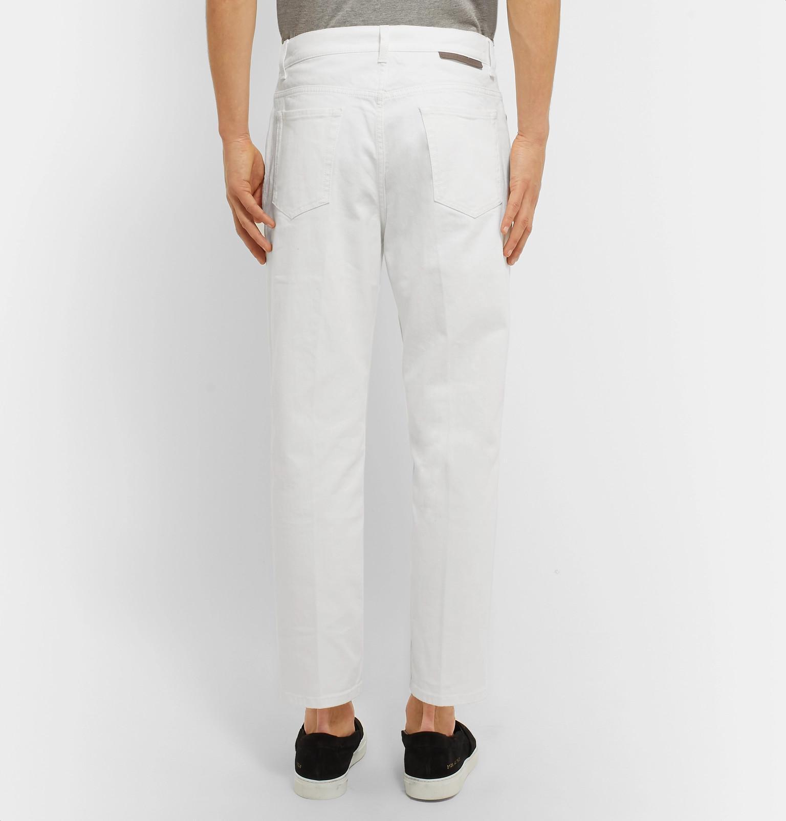 Stella McCartney Cropped Tapered Denim Jeans in White for Men