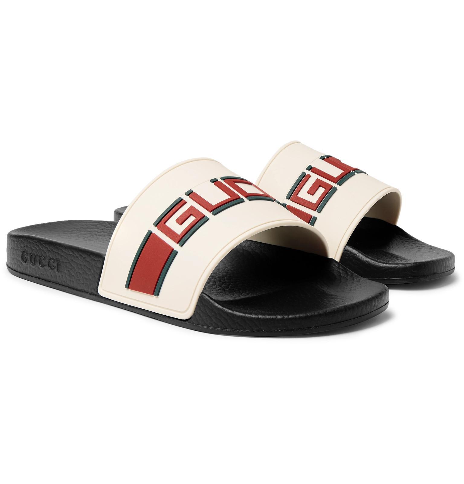 0c91e6e24 Gucci - White Stripe Rubber Slide Sandal for Men - Lyst. View fullscreen