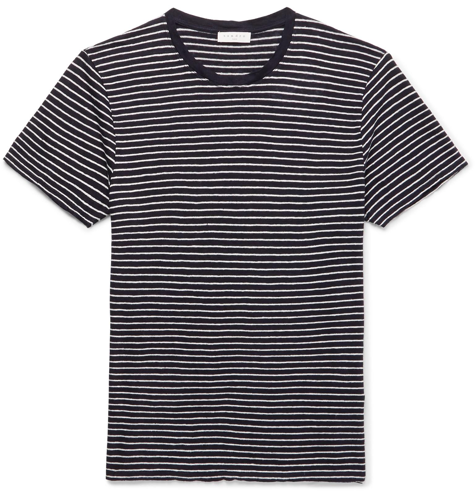 Sandro. Men's Blue Striped Linen T-shirt