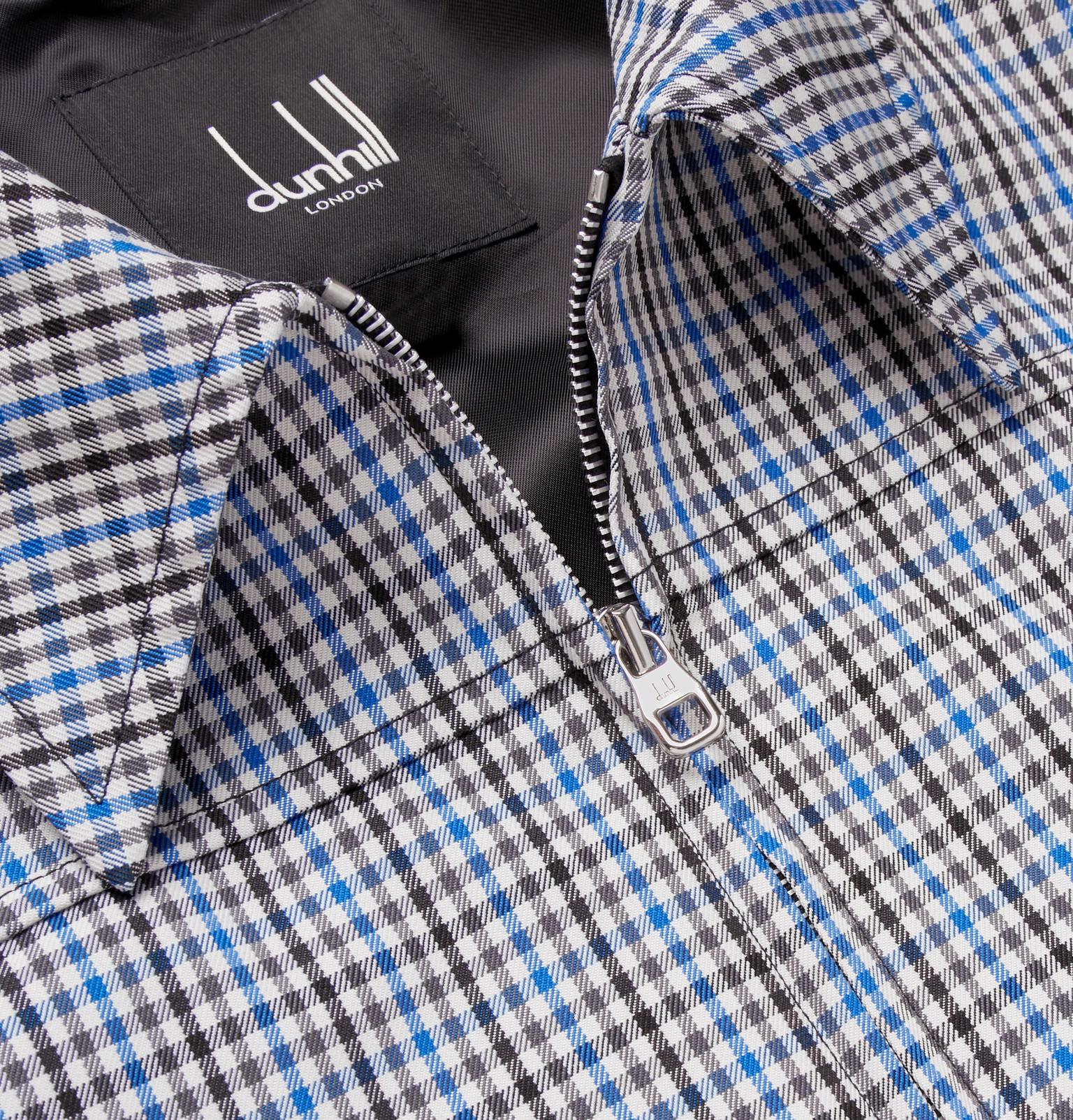 Dunhill Synthetic Checked Twill Blouson Jacket in Blue for Men