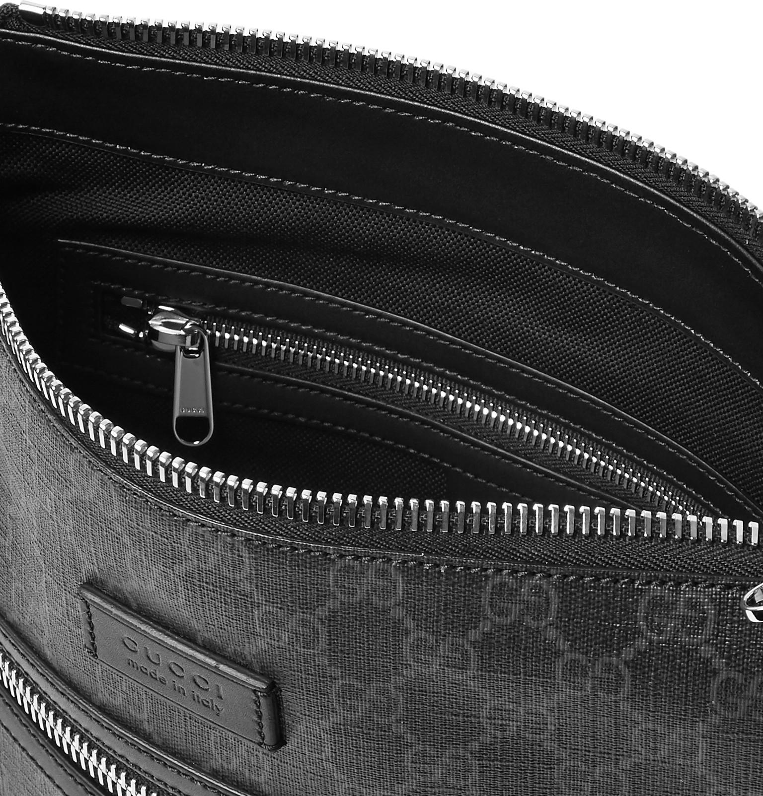 2ce2df06d88a Gucci - Black Leather-trimmed Monogrammed Coated-canvas Messenger Bag for  Men - Lyst. View fullscreen
