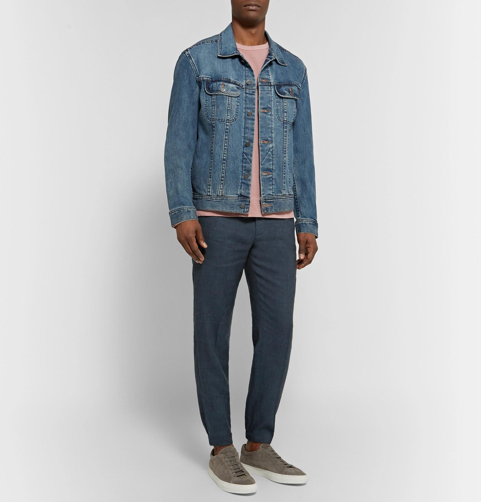 Club Monaco Lex Slim-fit Tapered Linen-blend Trousers in Blue for Men