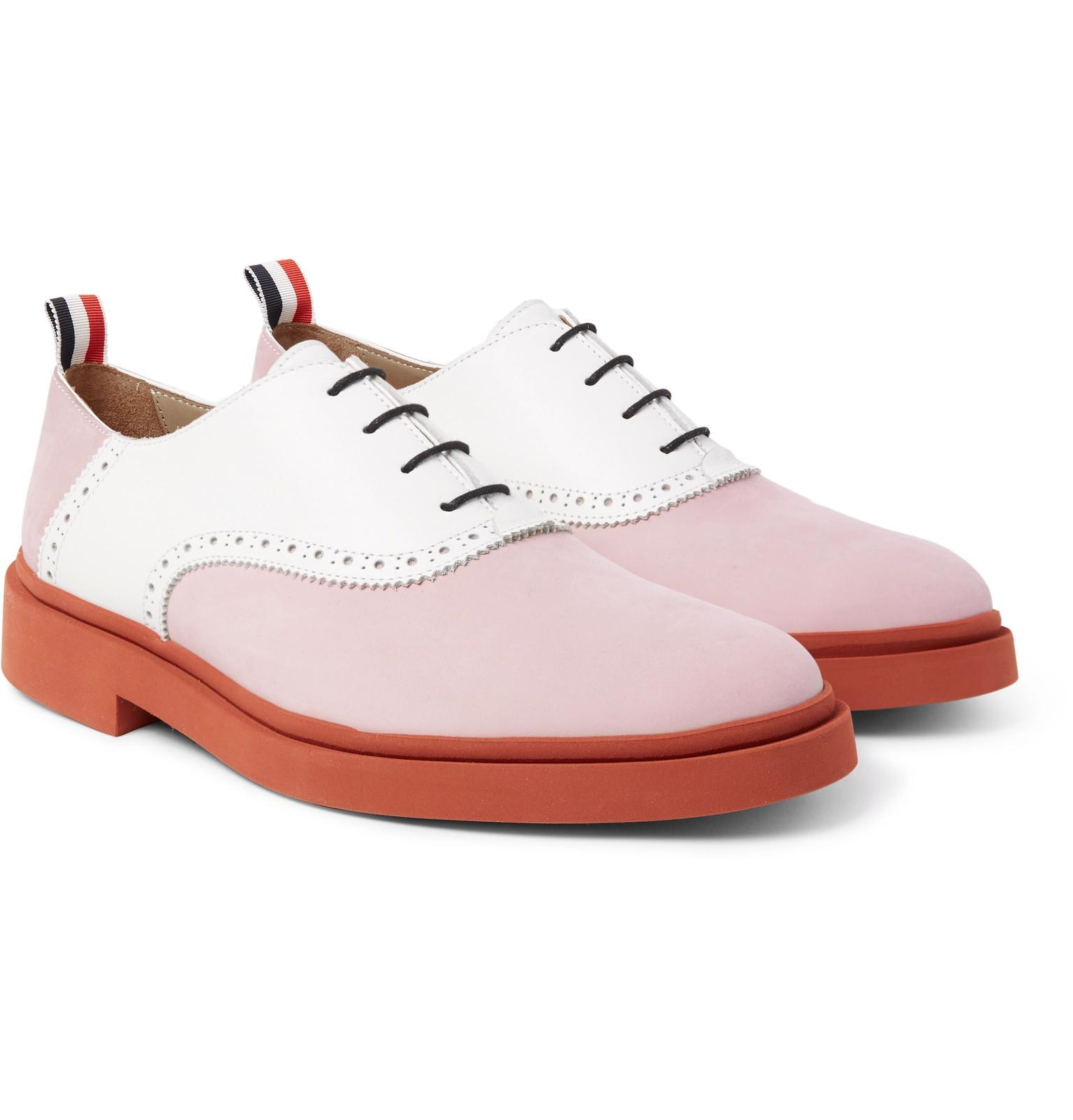 Thom Browne Two-tone Nubuck And Leather Oxford Shoes In Pink For Men | Lyst