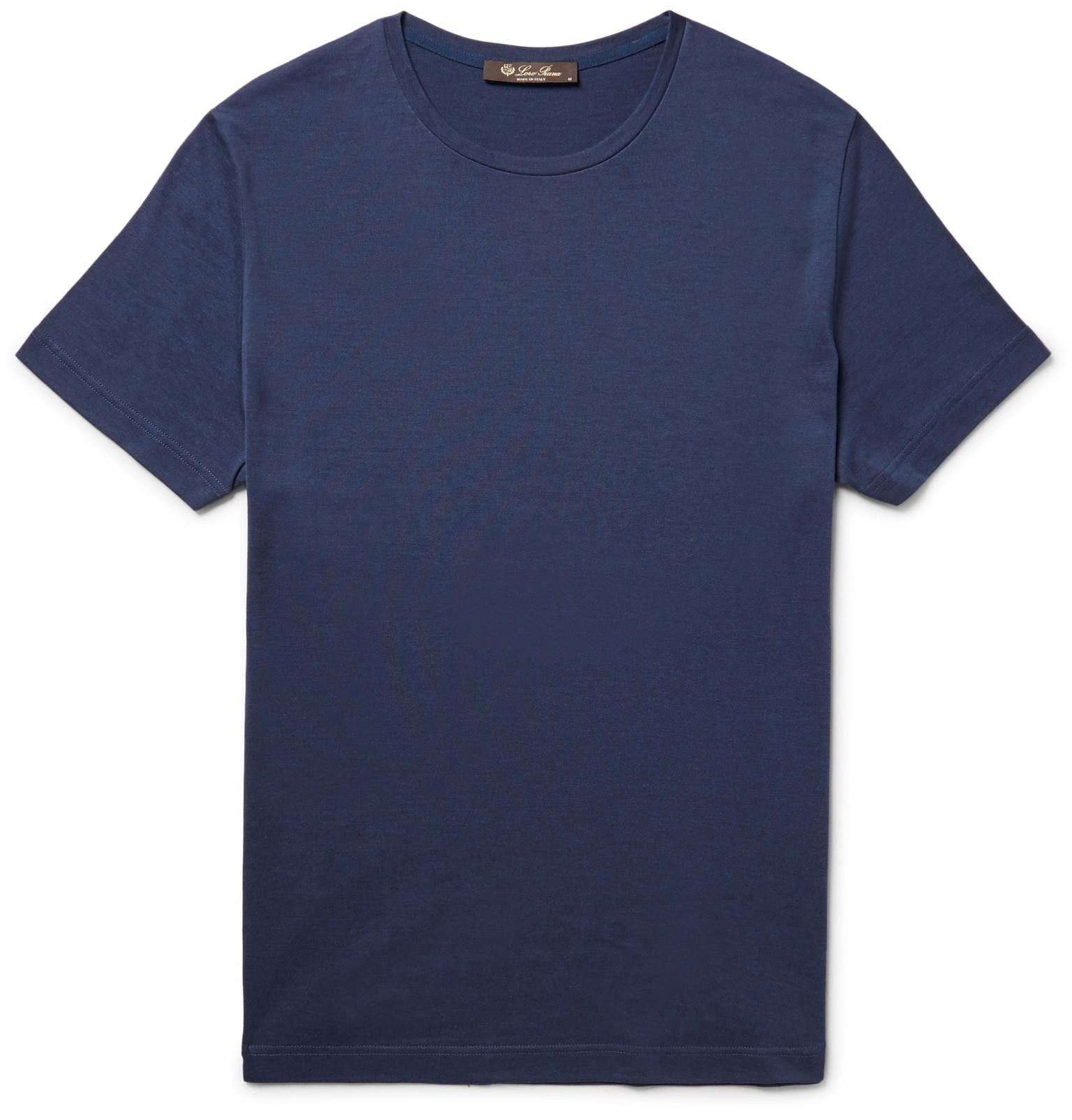 Loro piana slim fit silk and cotton blend t shirt in blue for Cotton silk tee shirts