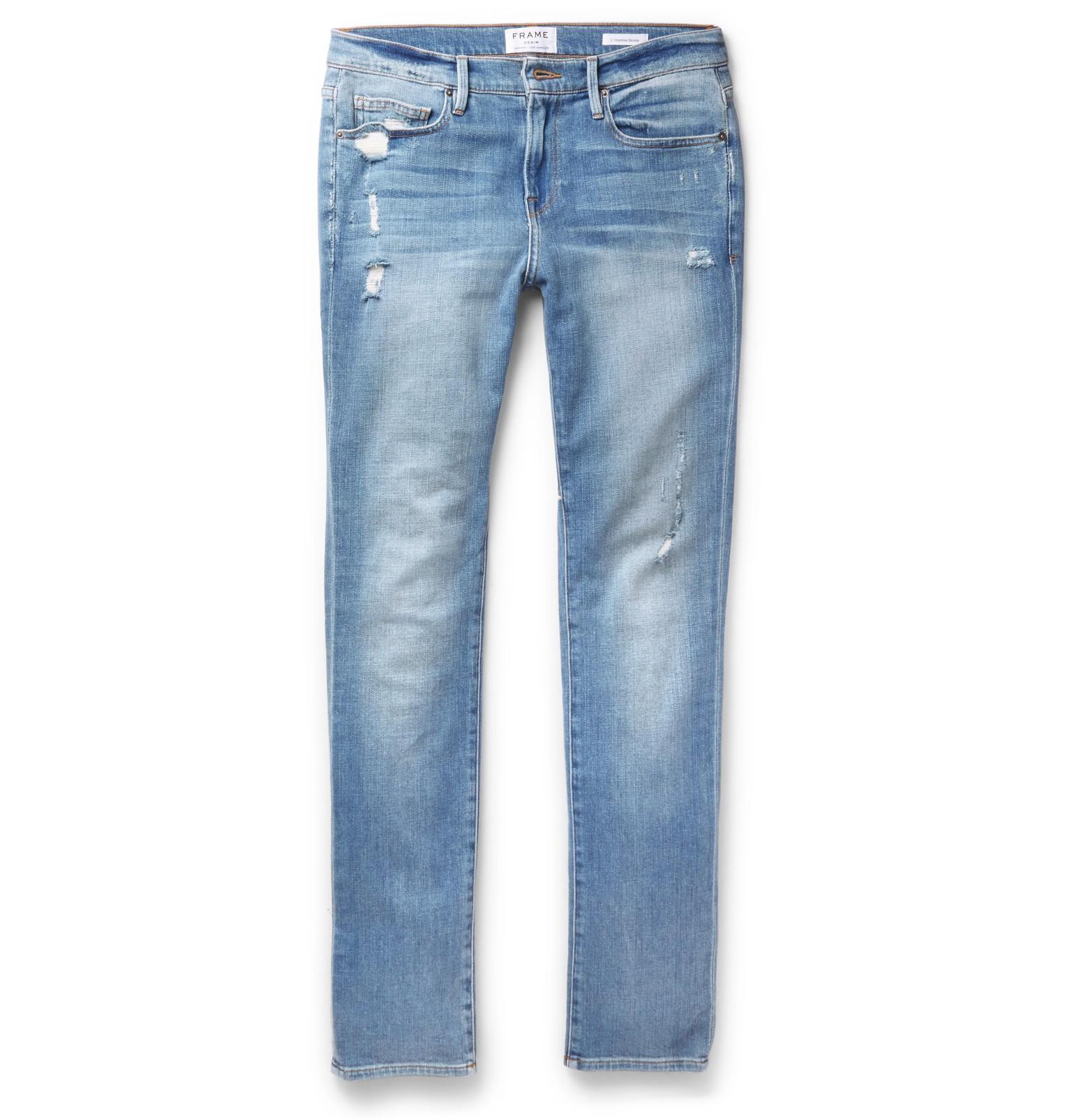 frame l 39 homme slim fit distressed stretch denim jeans in blue for men lyst. Black Bedroom Furniture Sets. Home Design Ideas