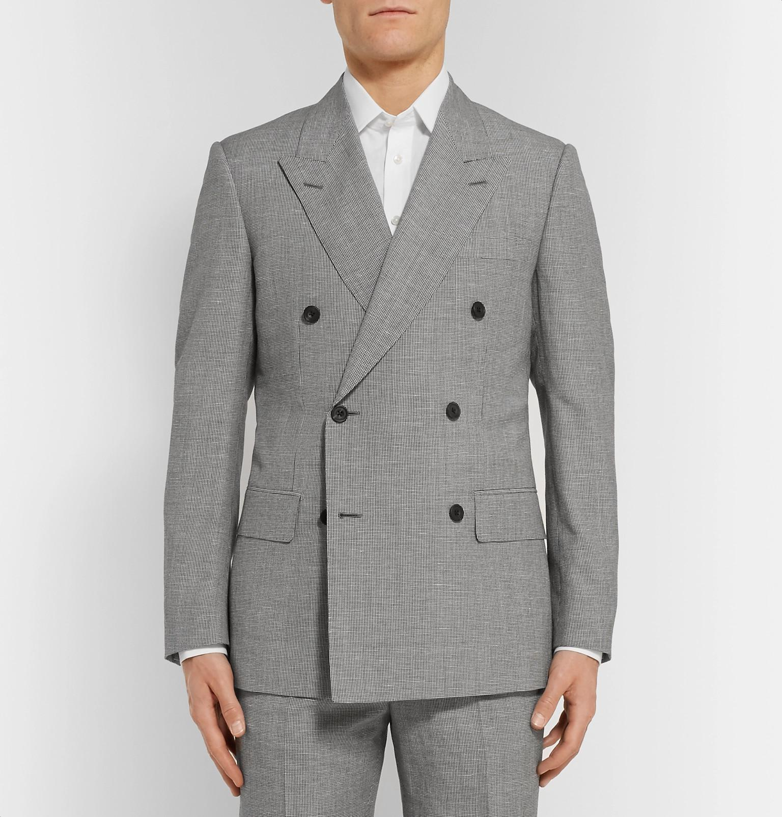 Kingsman Harry's Grey Puppytooth Wool And Linen-blend Suit Jacket in Grey for Men