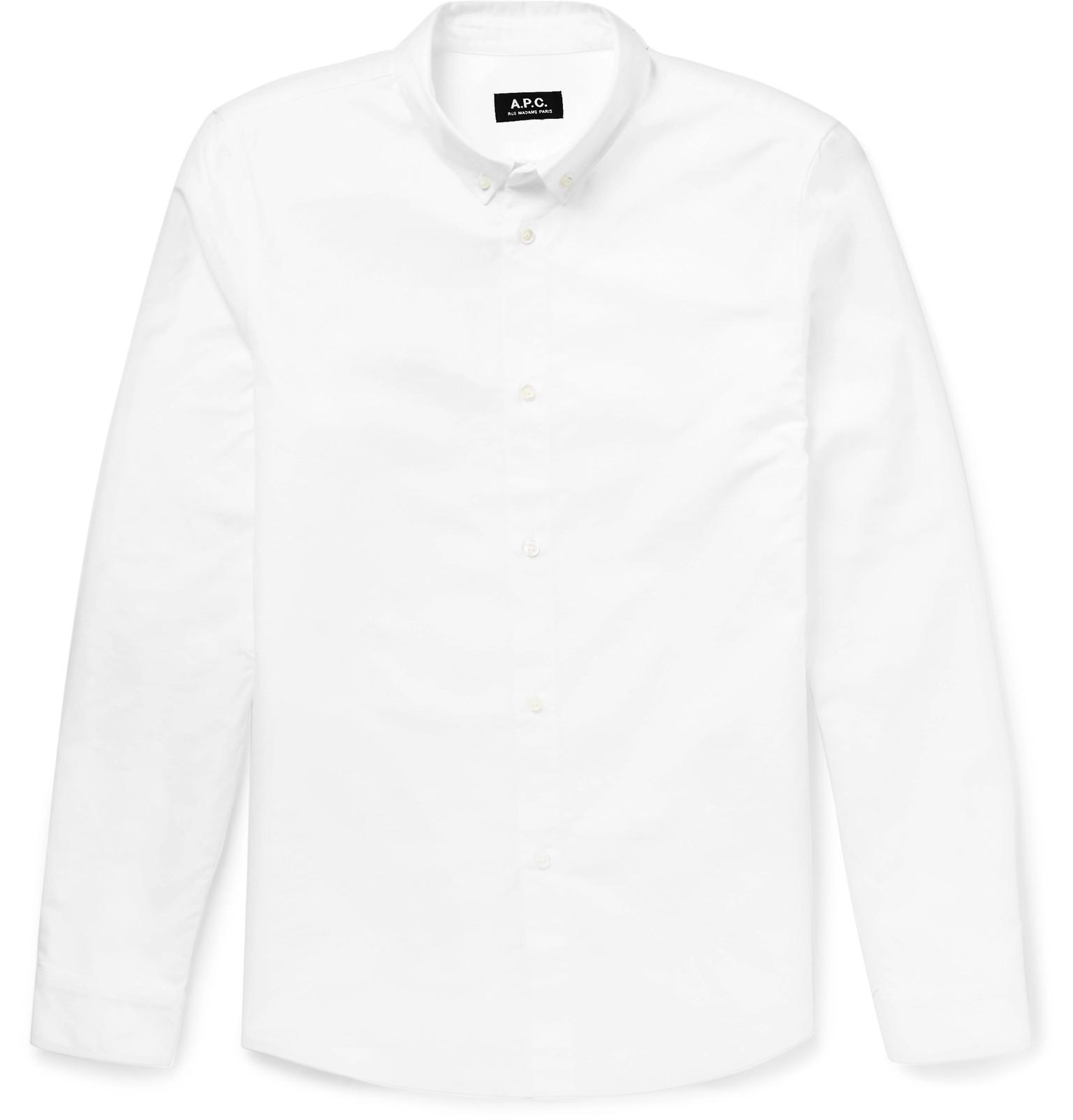 A p c slim fit button down collar cotton oxford shirt in for White button down collar oxford shirt