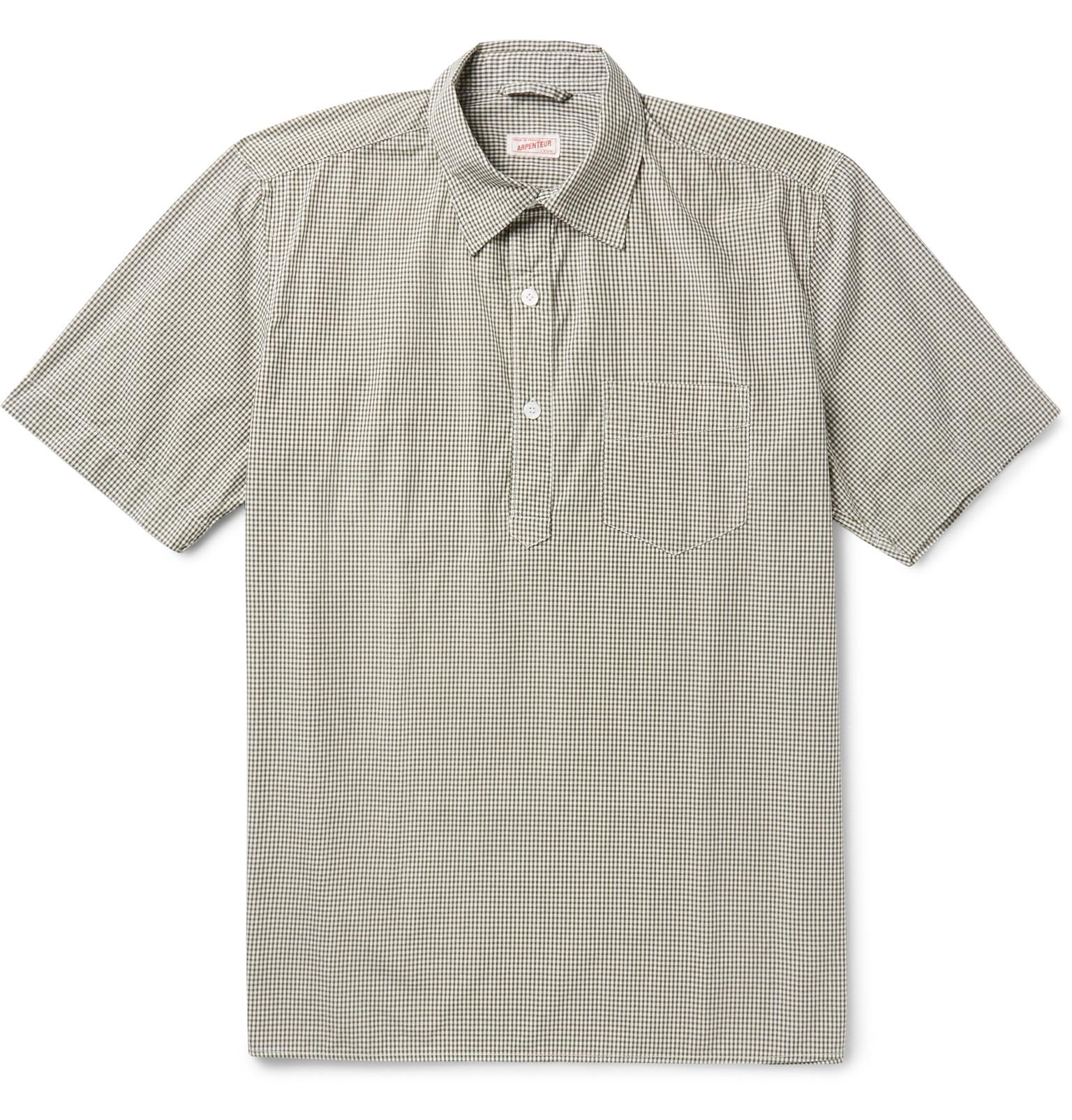 Arpenteur half placket gingham cotton shirt in green for for Bear river workwear shirts