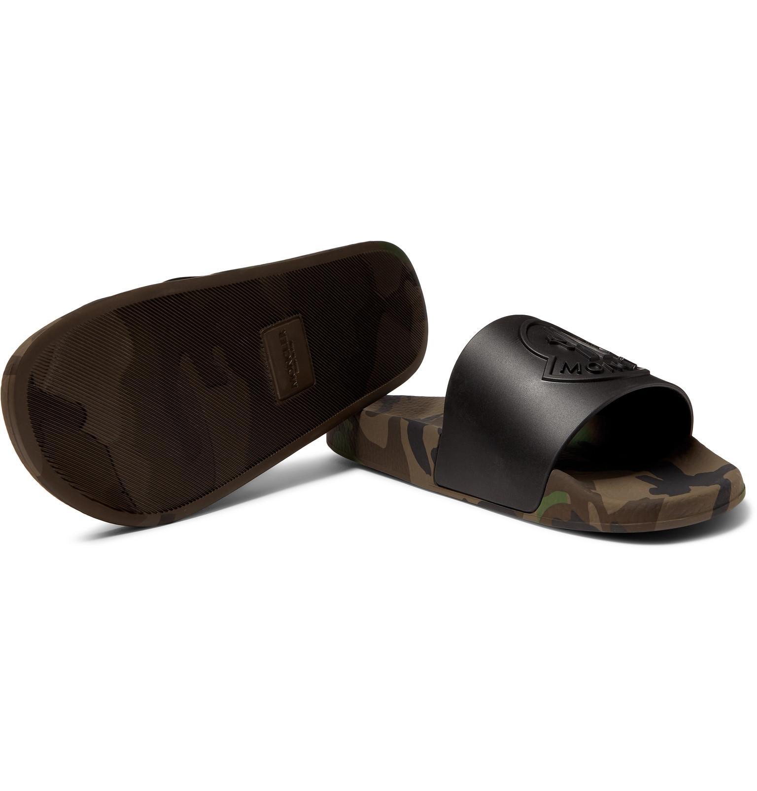 b1a92cbc593f Moncler Basile Logo-embossed Rubber Slides in Black for Men - Lyst