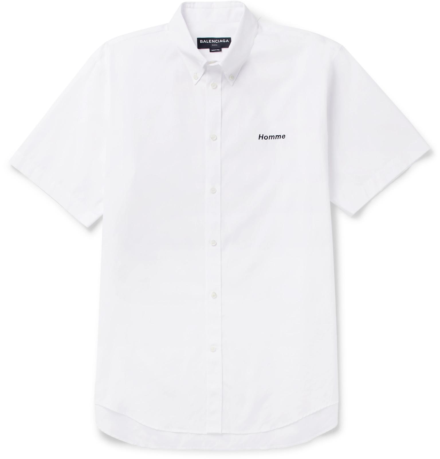 Cheap Sale Pay With Visa Oversized Button-down Collar Embroidered Cotton-poplin Shirt Balenciaga Shop Your Own Cheap Prices Reliable 8RGu3KN4