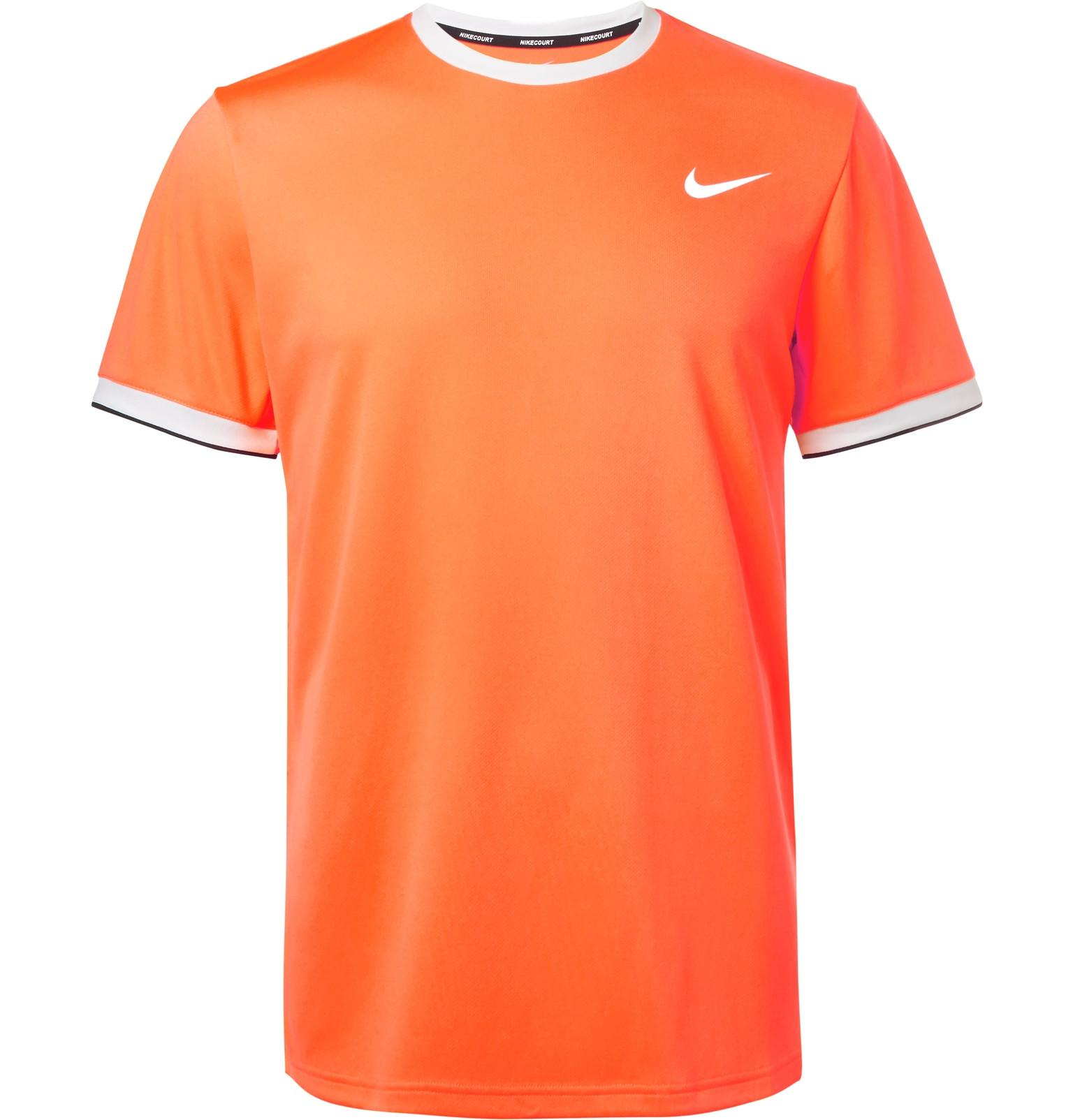 Nike Nikecourt Dry Dri Fit Mesh Tennis T Shirt In Orange