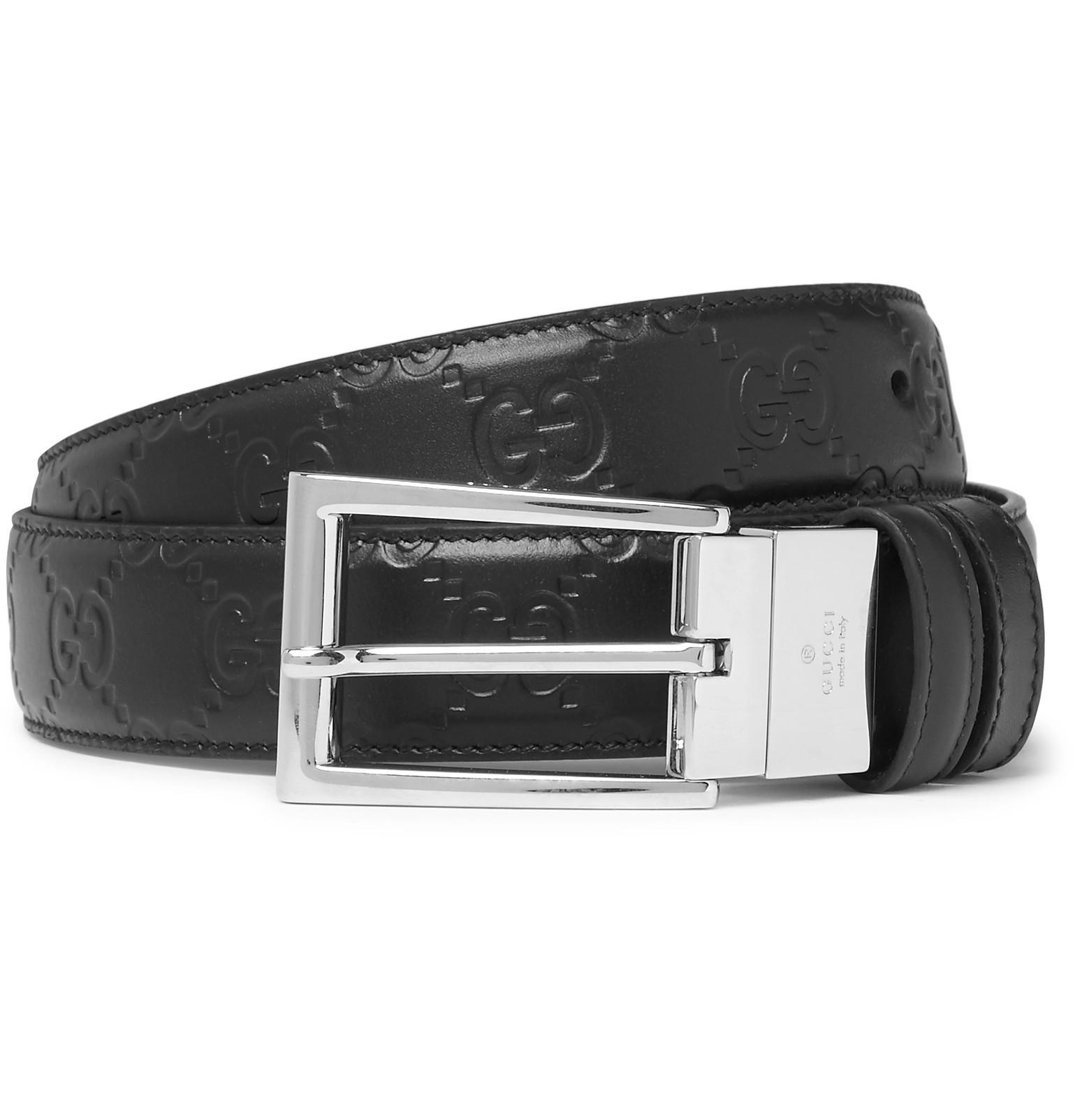 2e4791d98c9 Gucci 3cm Black Reversible Logo-embossed Leather Belt in Black for ...