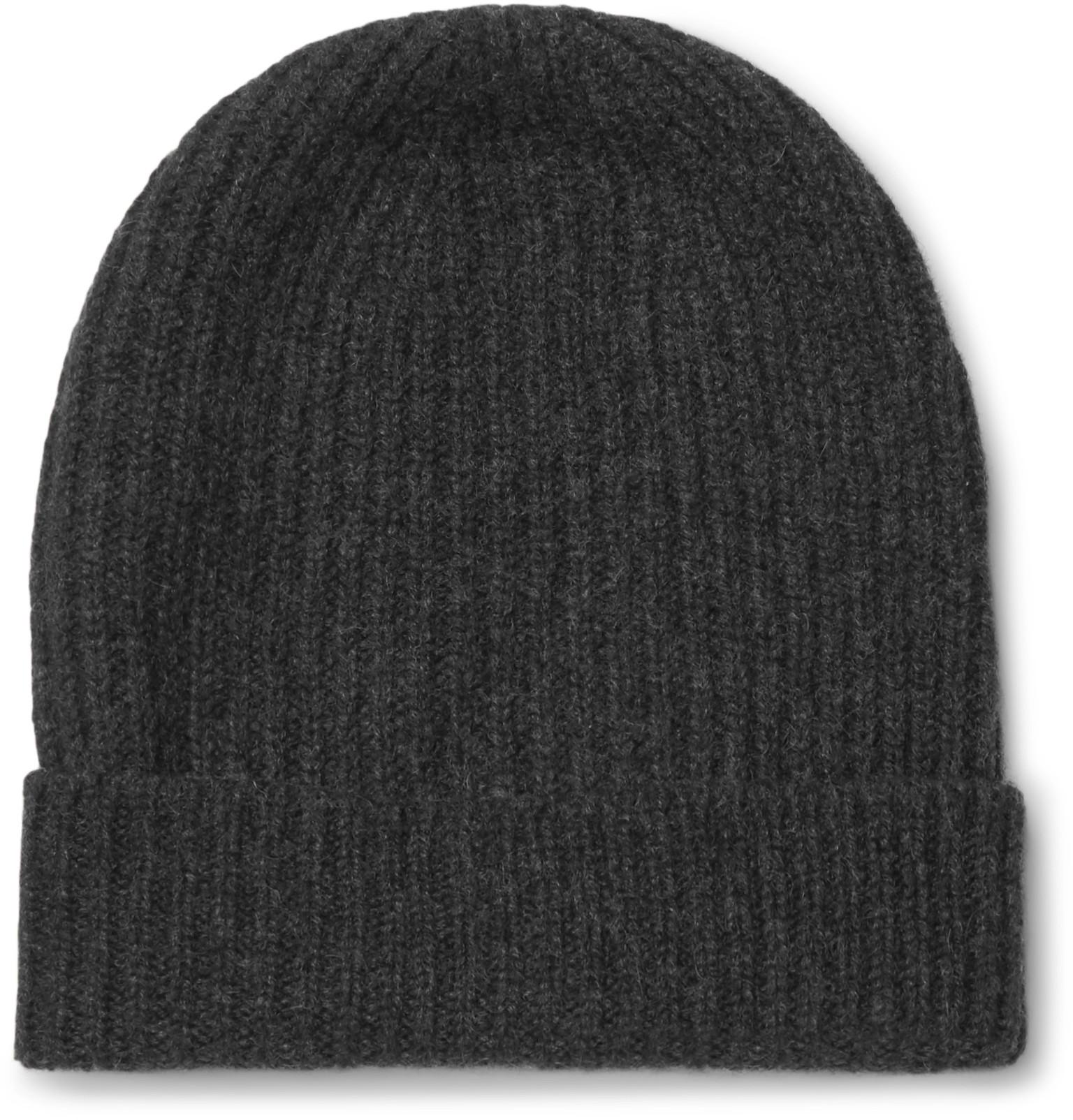 William Lockie Ribbed Mélange Cashmere Beanie in Gray for Men - Lyst bb267d24c11