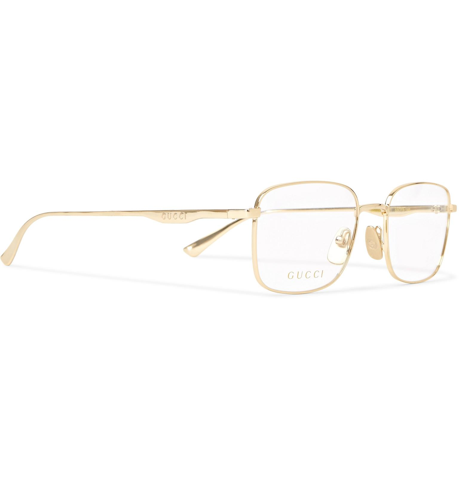 40cc8b8ef2 Lyst - Gucci Square-frame Gold-tone Optical Glasses in Metallic for Men