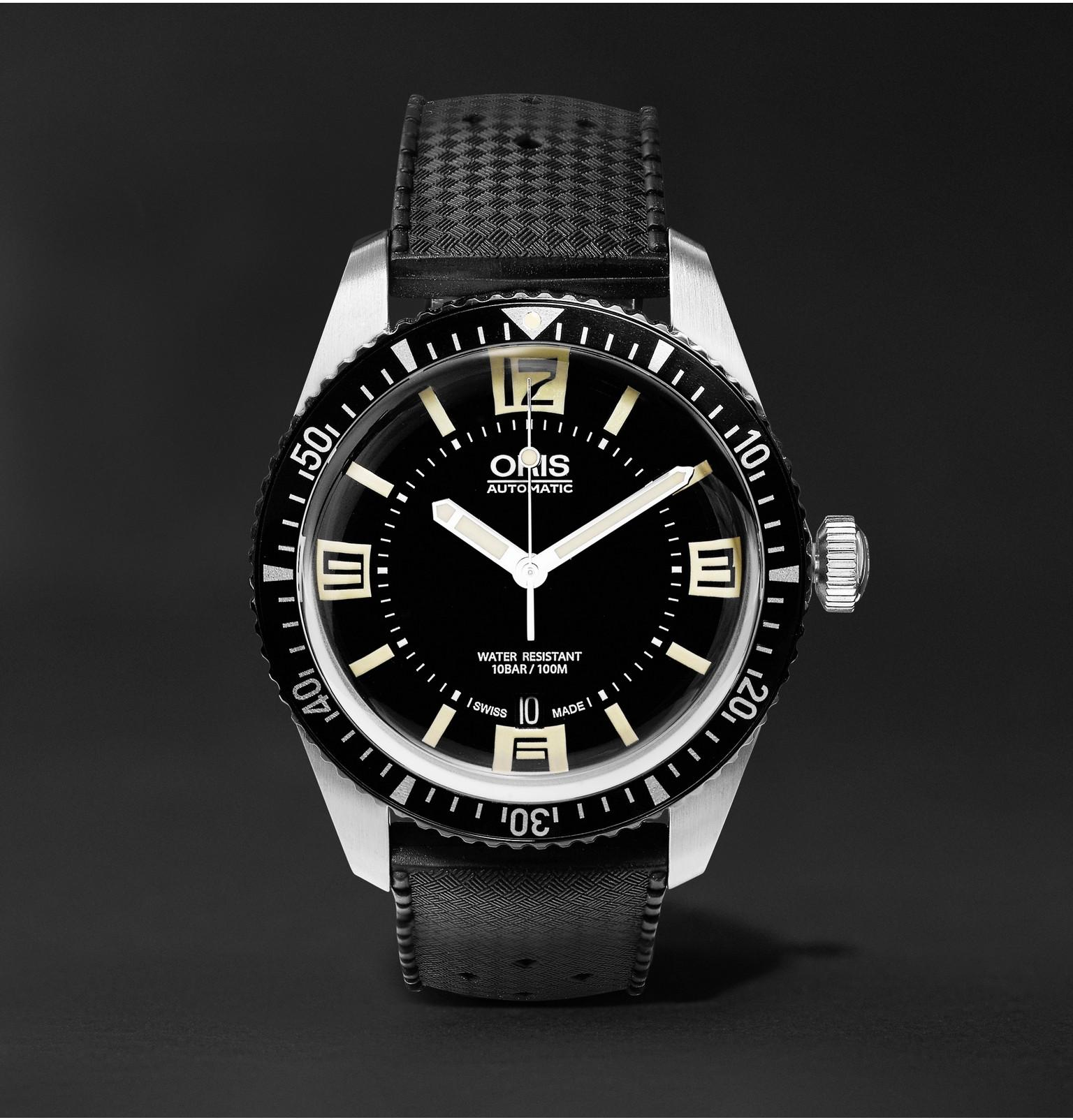 Oris divers sixty five 40mm stainless steel and rubber - 40mm dive watch ...