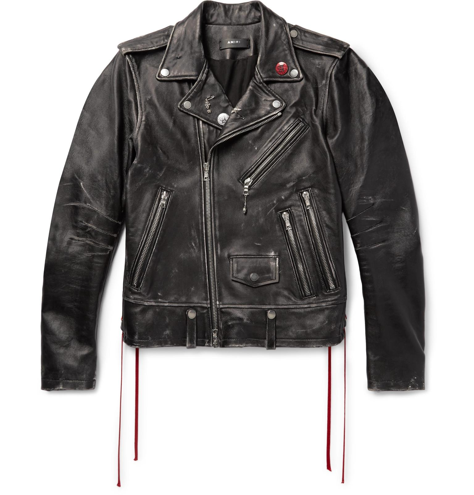For Fullscreen View Biker Distressed Lyst Black Leather Embellished Amiri Jacket Men ngOF4qvYx