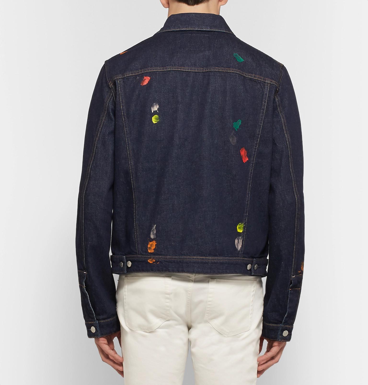 Acne Studios Tent Gum Paint-splattered Denim Jacket in Dark Denim (Blue) for Men