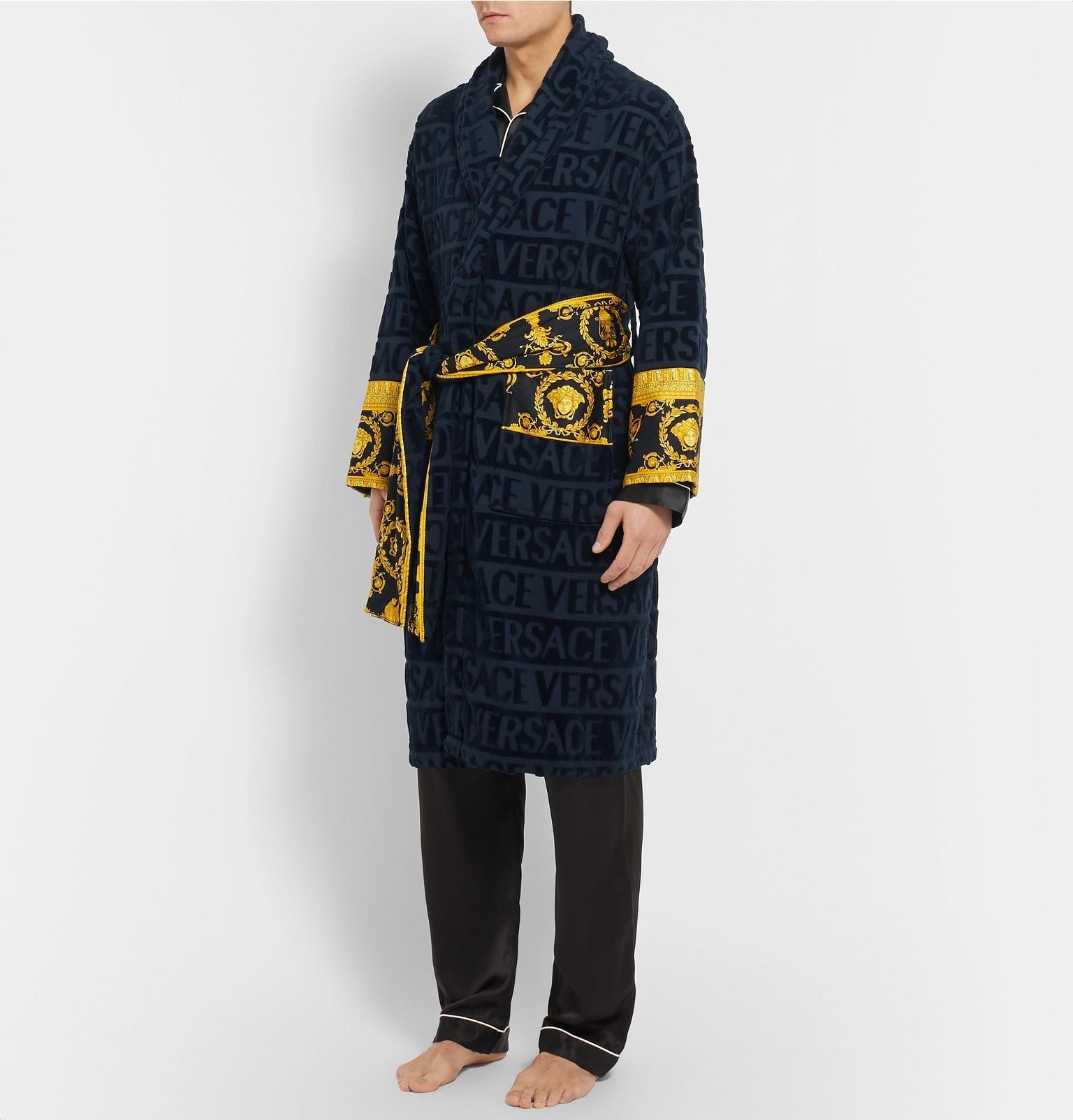 Versace - Blue I Love Baroque Logo Jacquard Cotton Bathrobe for Men - Lyst.  View fullscreen e6a1d5575