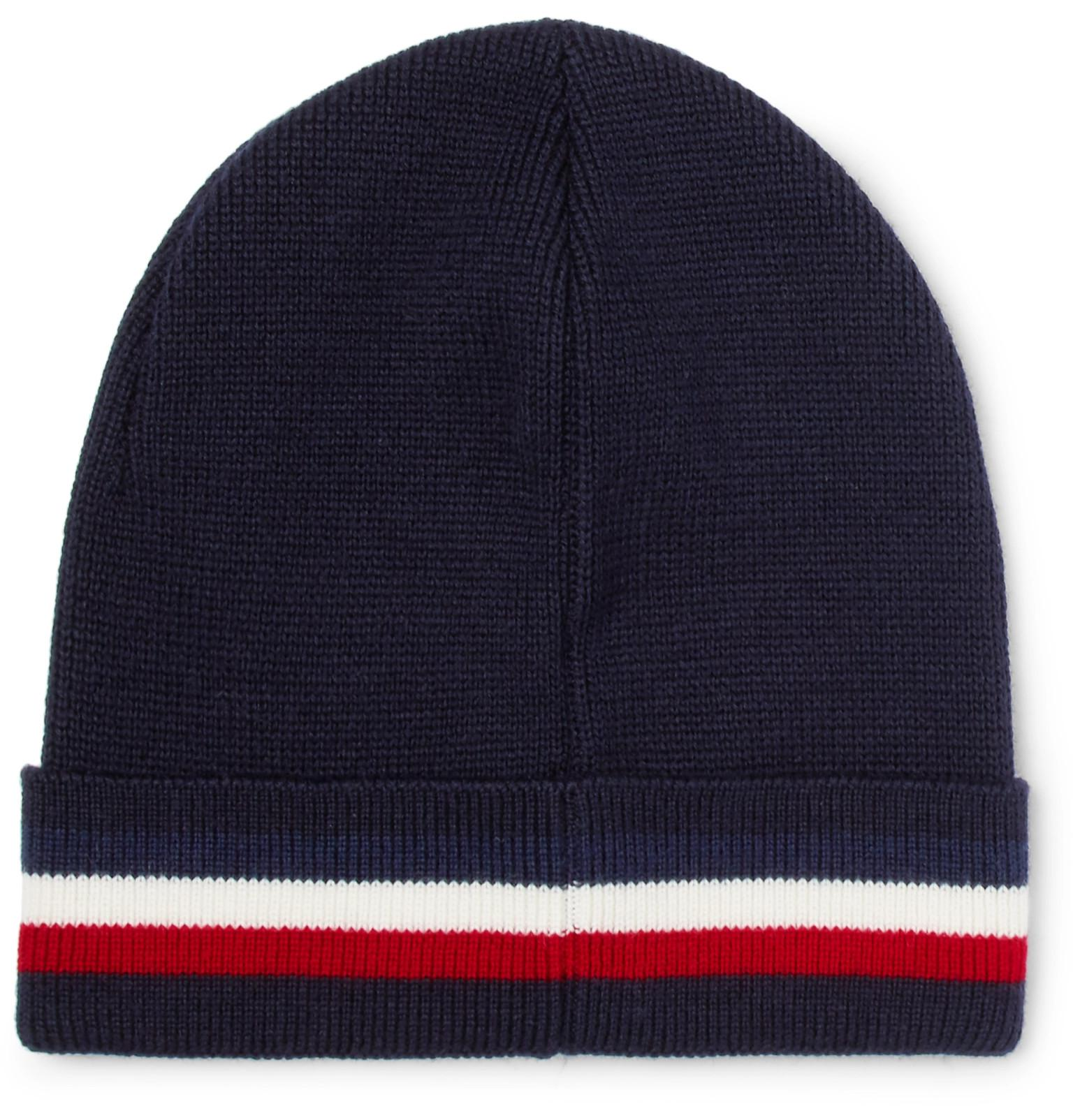 785c0a813b7 Moncler Berretto Stripe Wool Beanie in Blue for Men - Lyst