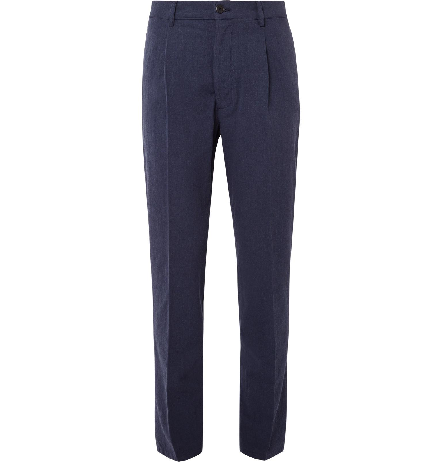 Soho Tapered Pleated Slub Cotton Trousers Altea 2018 New Online f4GfT9AT