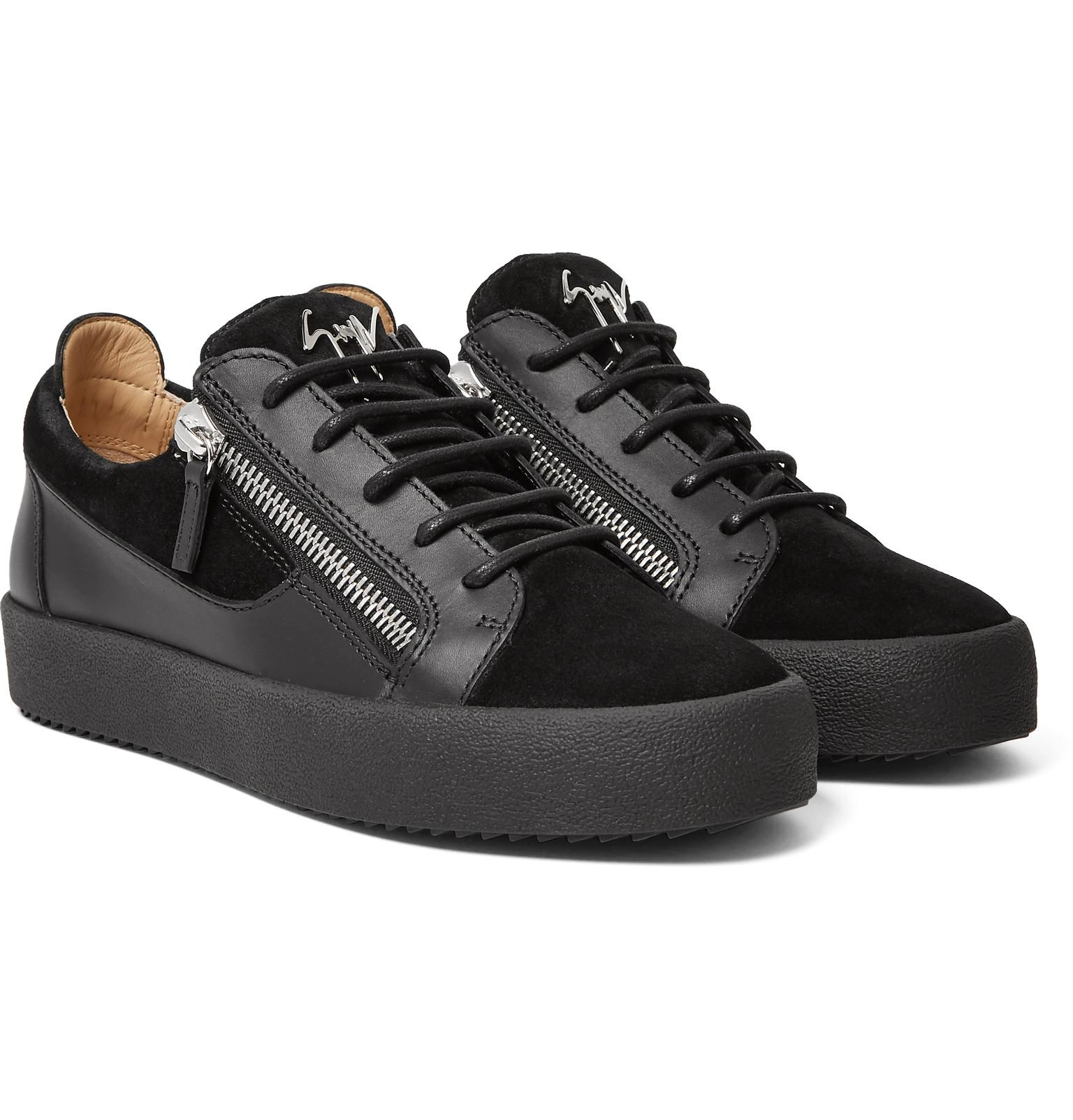 Giuseppe zanotti Leather And Suede Trainers in Black for ...