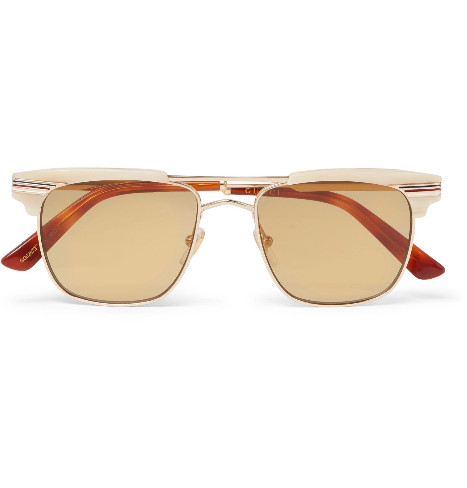 5a60e9579d Gucci D-frame Acetate And Gold-tone Sunglasses in Brown for Men - Lyst