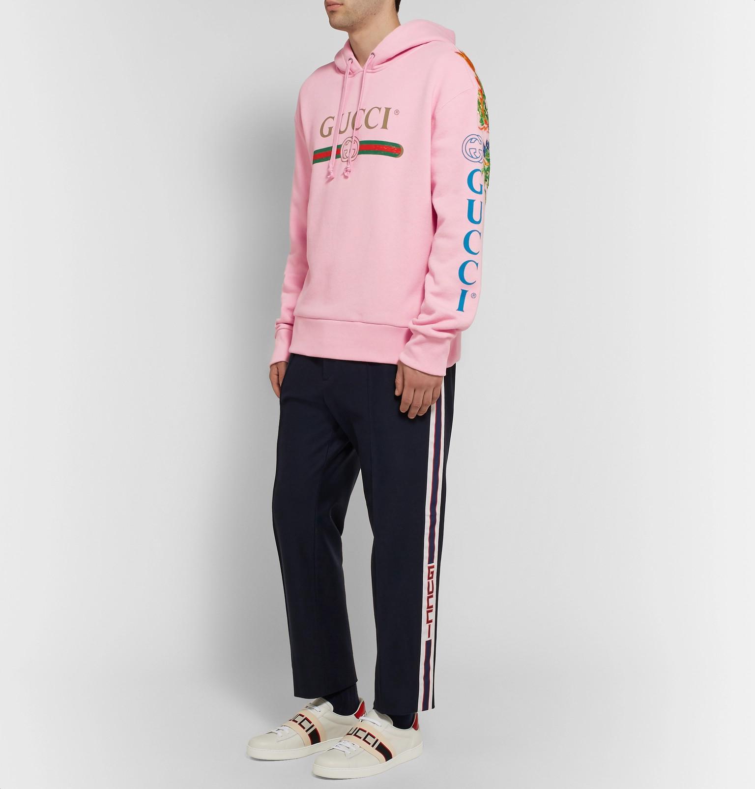 972f634a8 Gucci - Pink Appliquéd Logo-print Loopback Cotton-jersey Hoodie for Men -  Lyst. View fullscreen