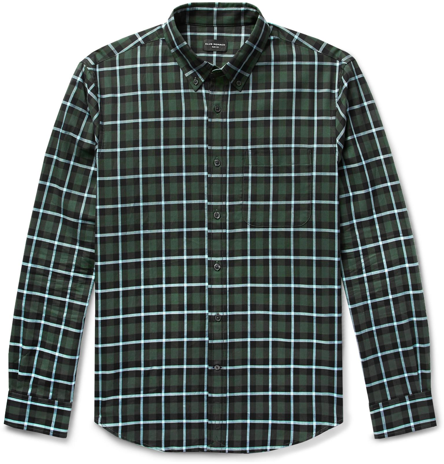 e785ab11e81 Club Monaco - Green Slim-fit Button-down Collar Checked Cotton Shirt for  Men. View fullscreen