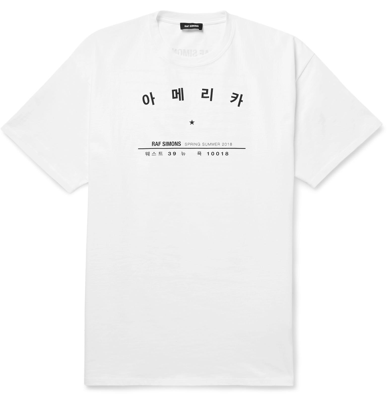 RAF SIMONS Printed Cotton-jersey T-shirt - Pink nek3gPN0FZ