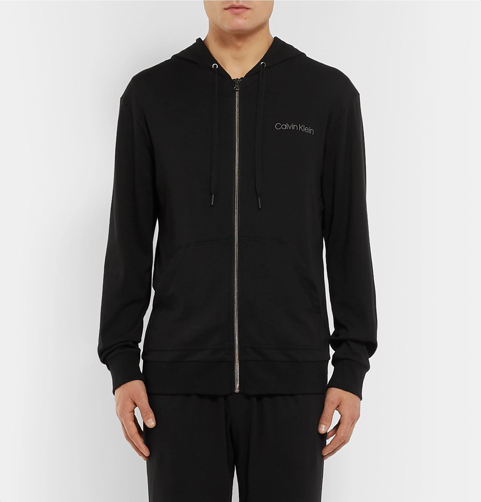 0340be1dc507 Calvin Klein - Black Stretch Cotton And Modal-blend Zip-up Hoodie for Men.  View fullscreen