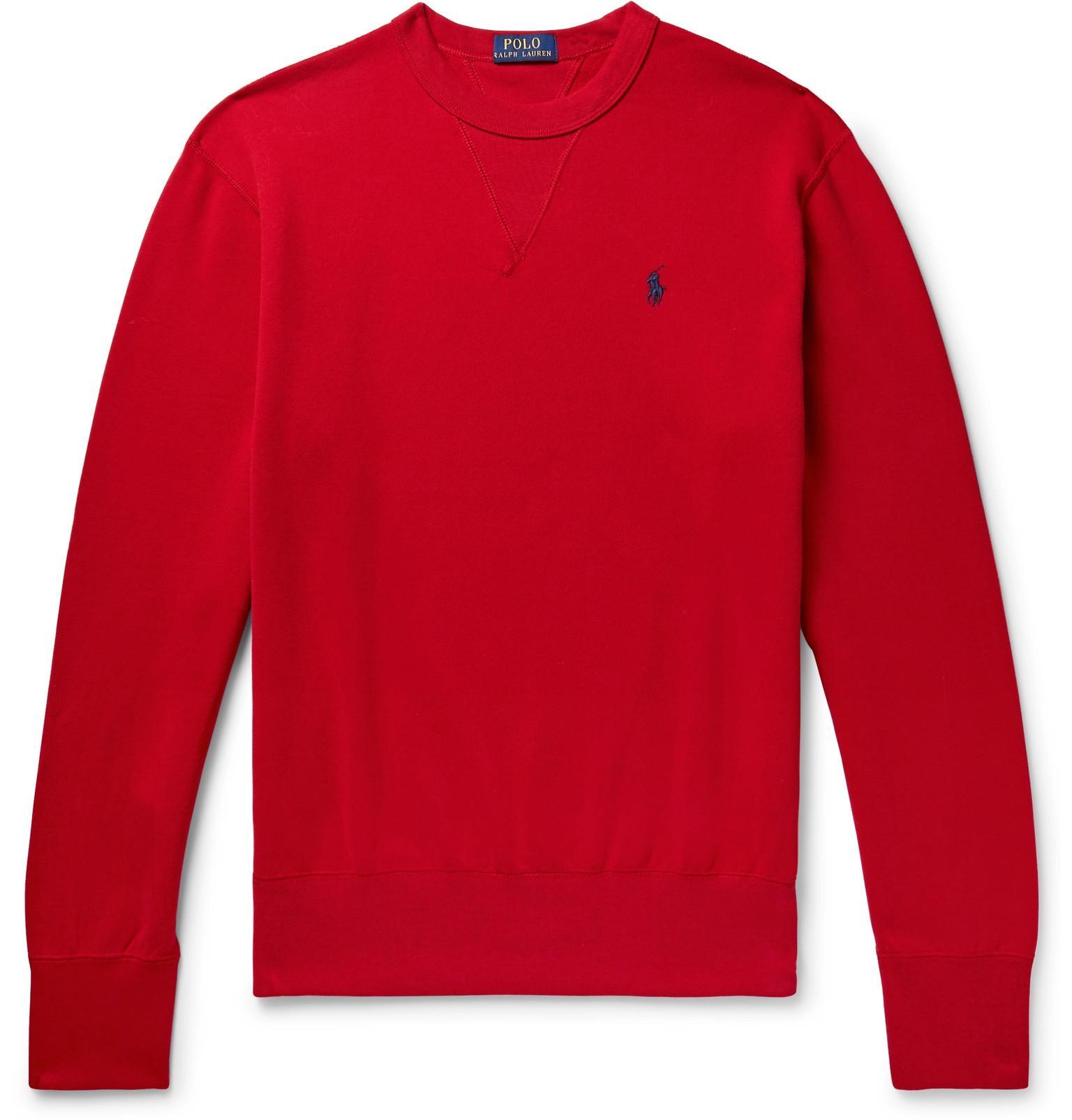c01bd466c9a28 Polo Ralph Lauren - Red Crew Neck Sweatshirt for Men - Lyst. View fullscreen