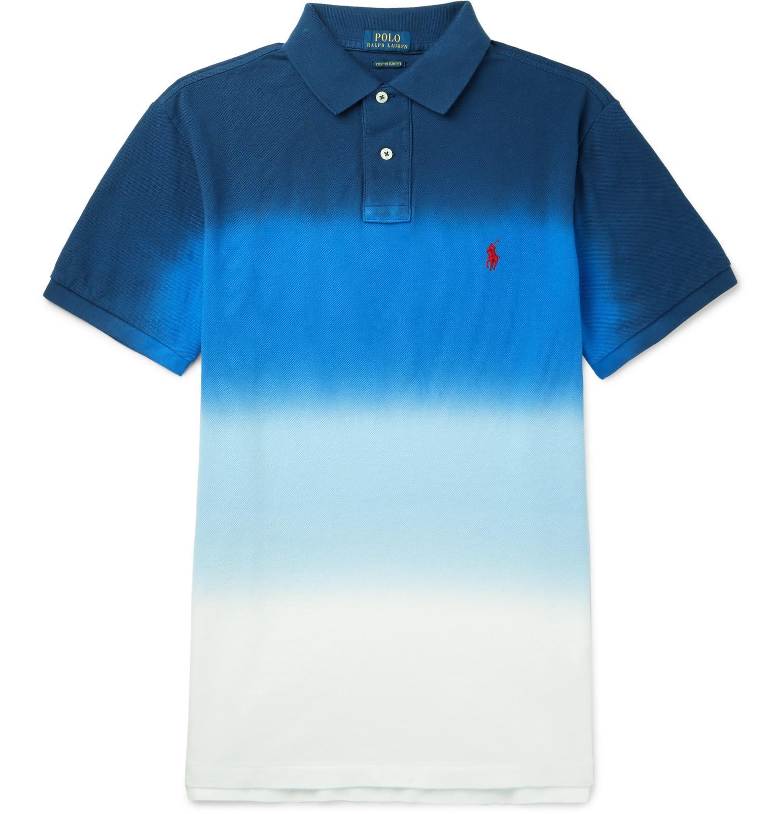 Fit Piqué Lauren Shirt Slim Dégradé In Blue Cotton Polo Ralph 6IbfvmYgy7