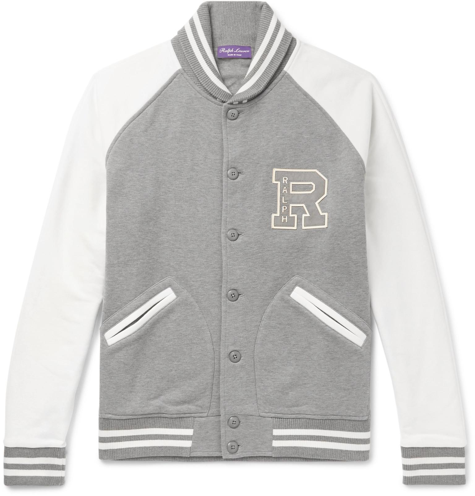 671db390 Ralph Lauren Purple Label Cotton Fleece Letterman Jacket in Gray for ...