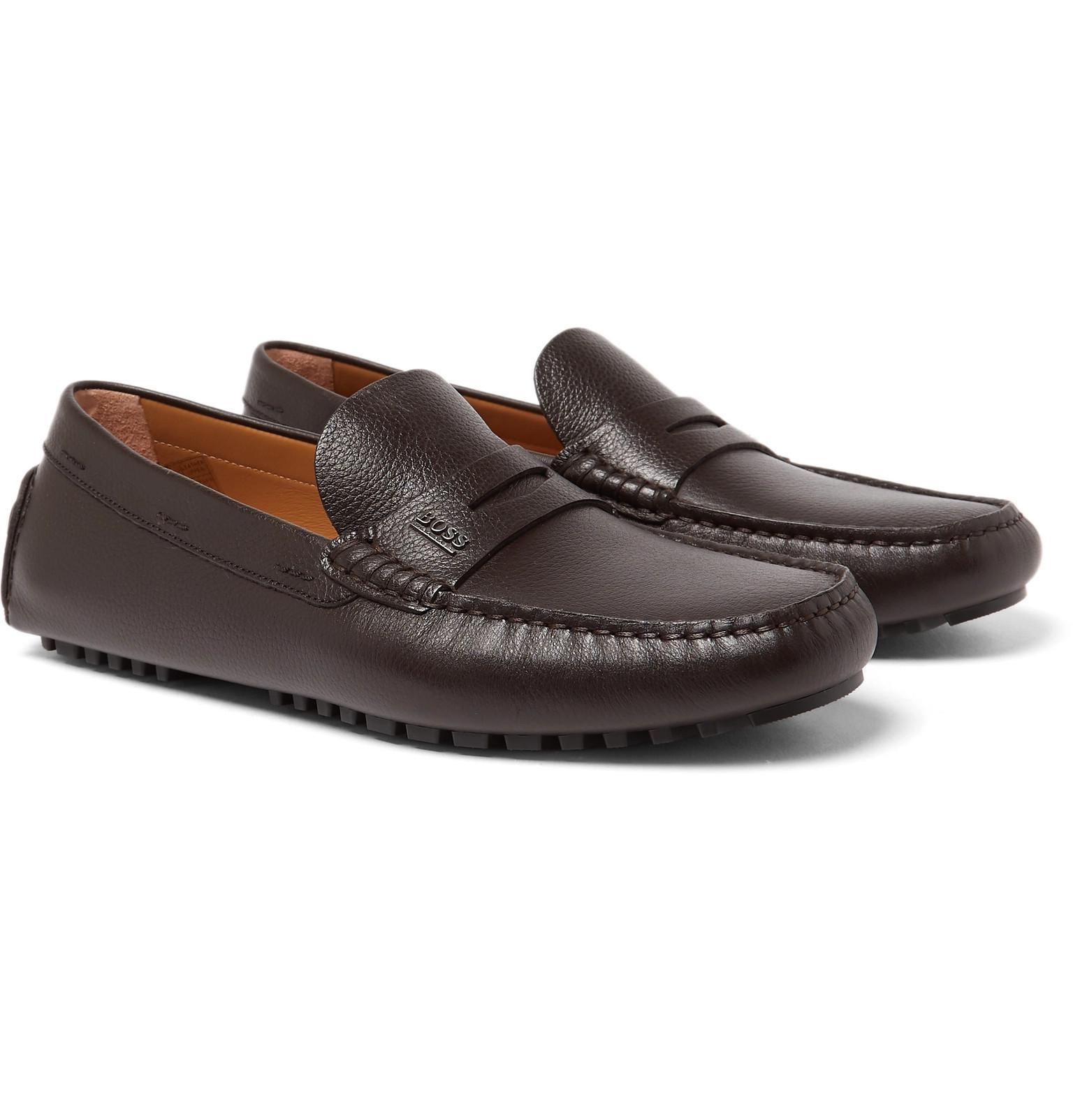 18109755bafa BOSS Full-grain Leather Driving Shoes in Brown for Men - Lyst