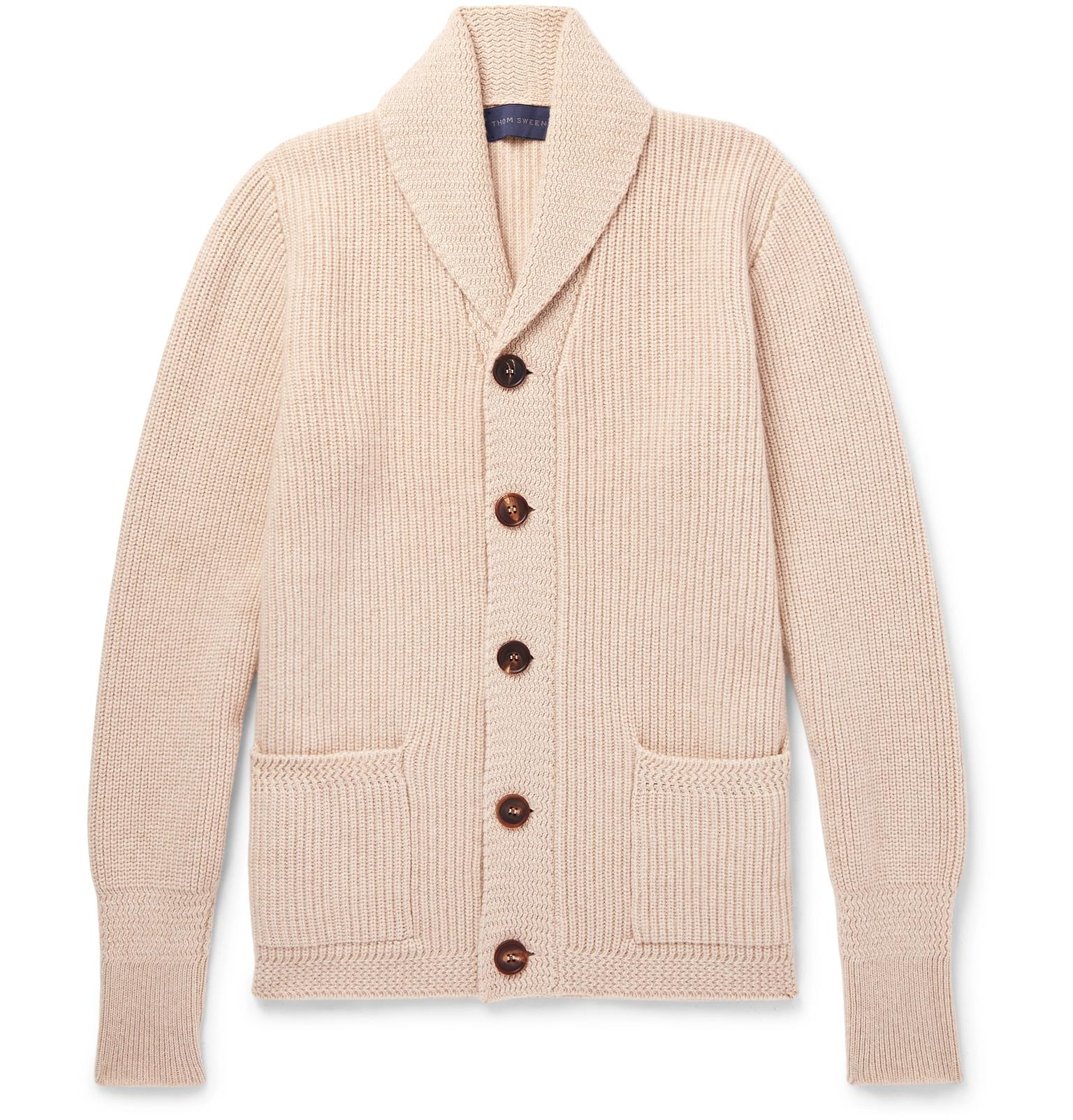 93a3a9916685a Thom Sweeney Slim-fit Shawl-collar Cashmere Cardigan in Natural for ...