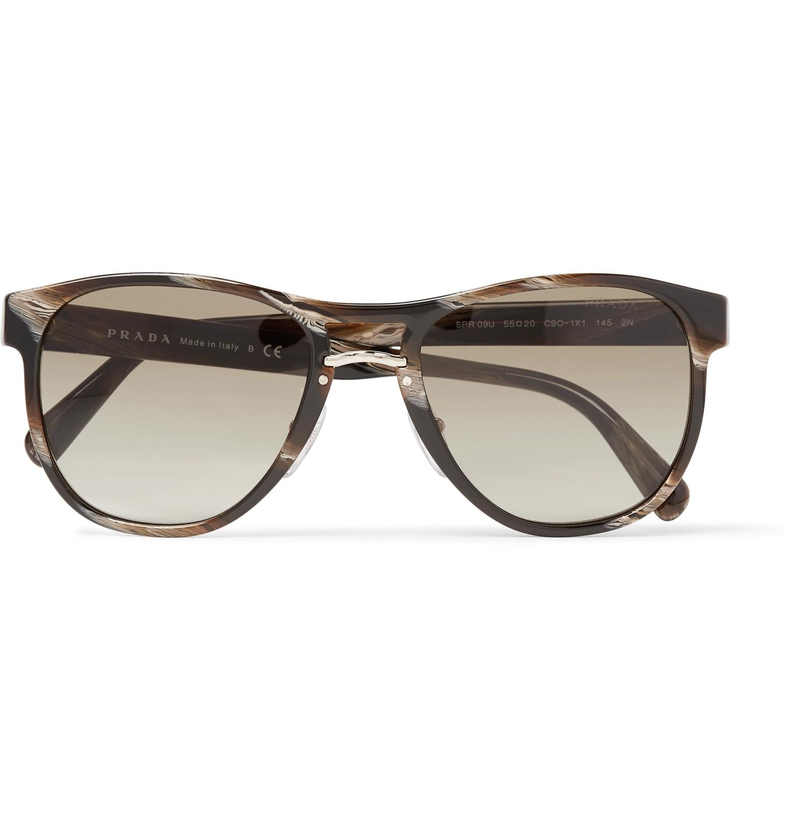 9a9f01174bef ... australia lyst prada d frame acetate and gold tone sunglasses in brown  for men 38ee7 ffd32