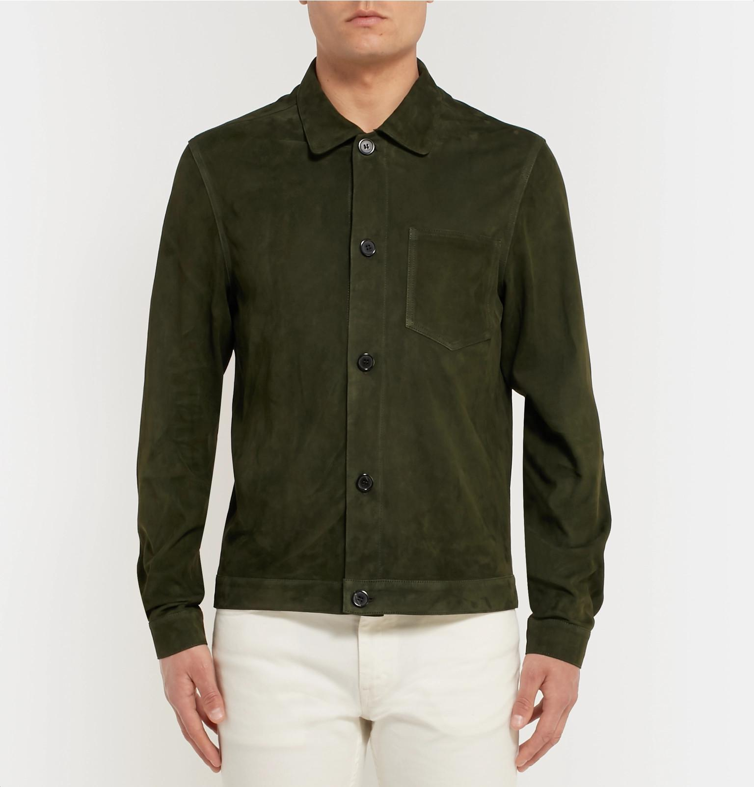 AMI Suede Shirt Jacket in Green for Men