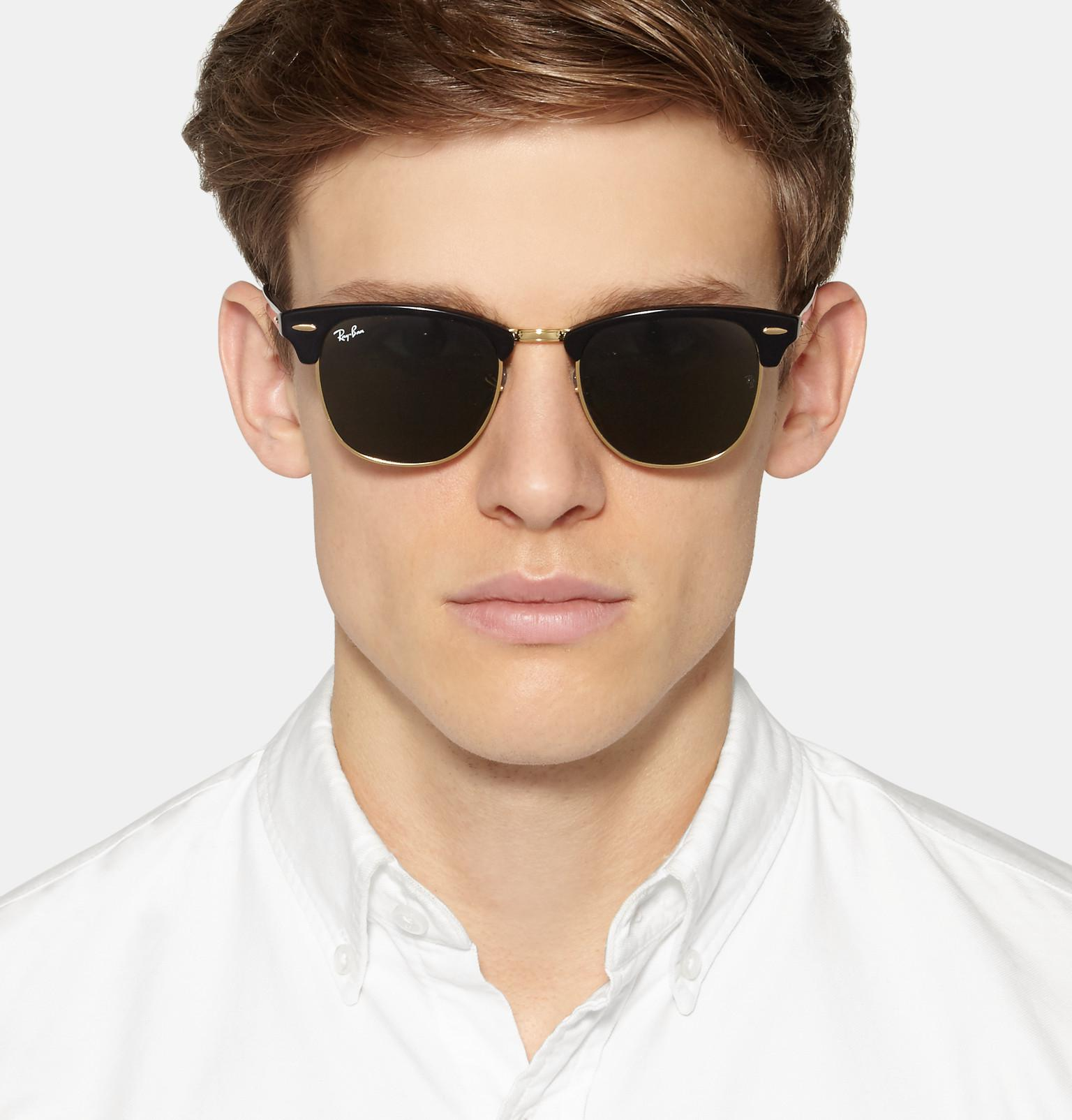 4bee2355dfd Ray-Ban - Black Clubmaster Square-frame Acetate And Gold-tone Sunglasses  for. View fullscreen