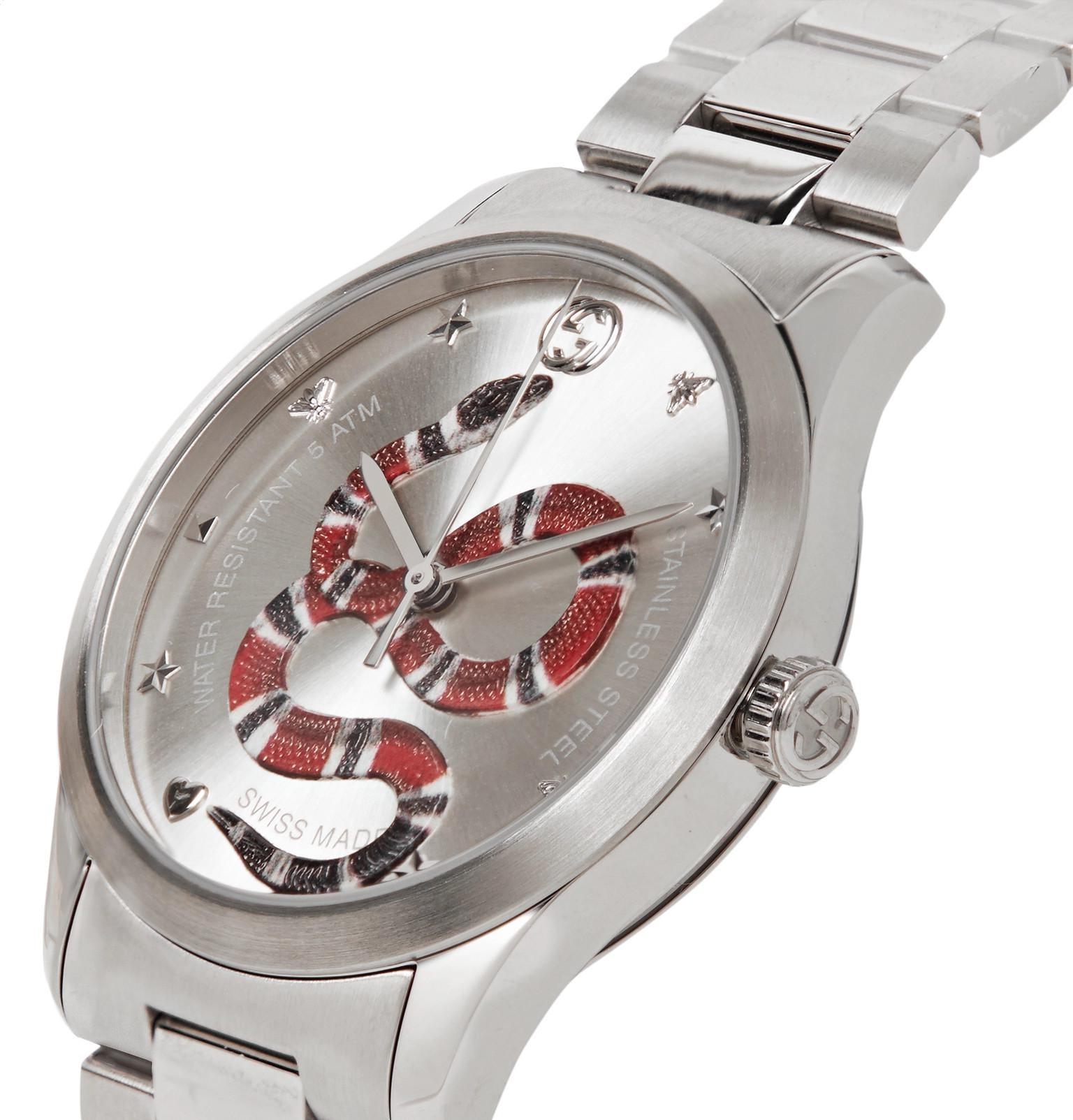 5fbd1f14c68 Gucci - Metallic G-timeless Snake-dial 38mm Stainless Steel Watch for Men  -. View fullscreen